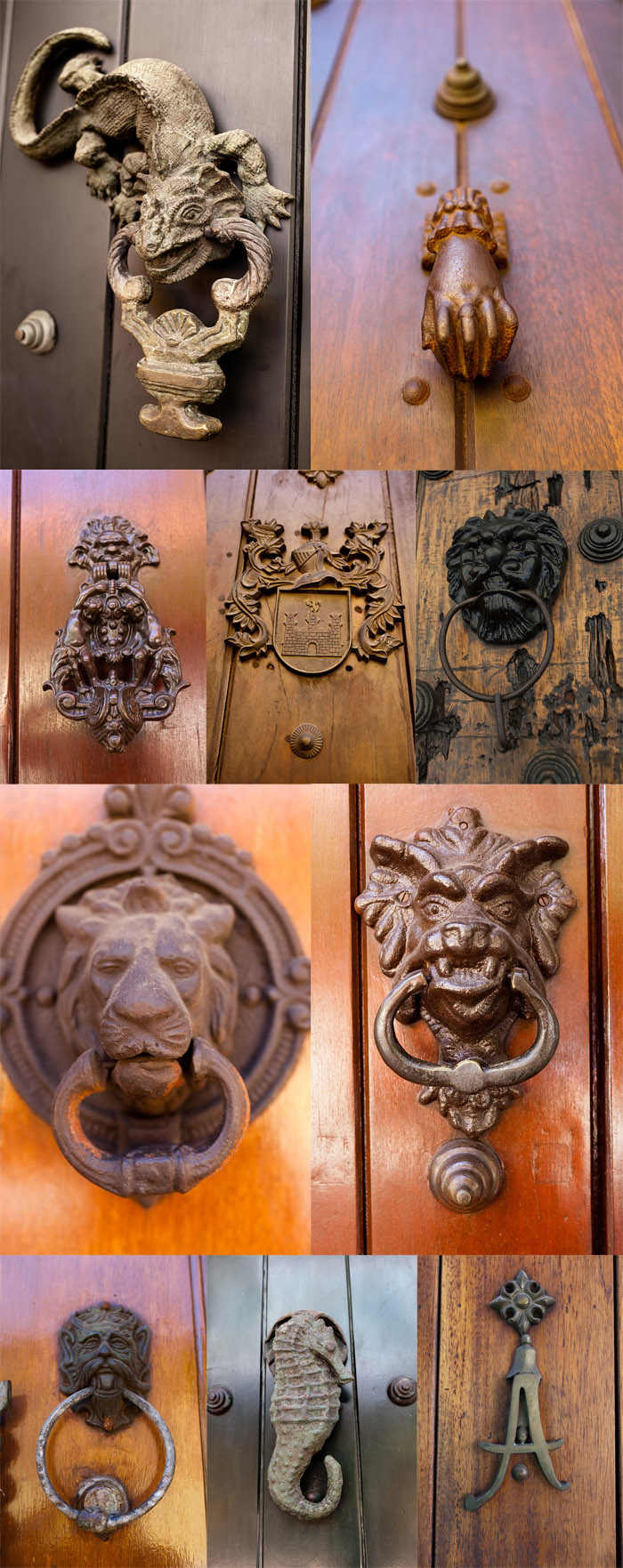 Ornate door knockers in Cartagena, Colombia