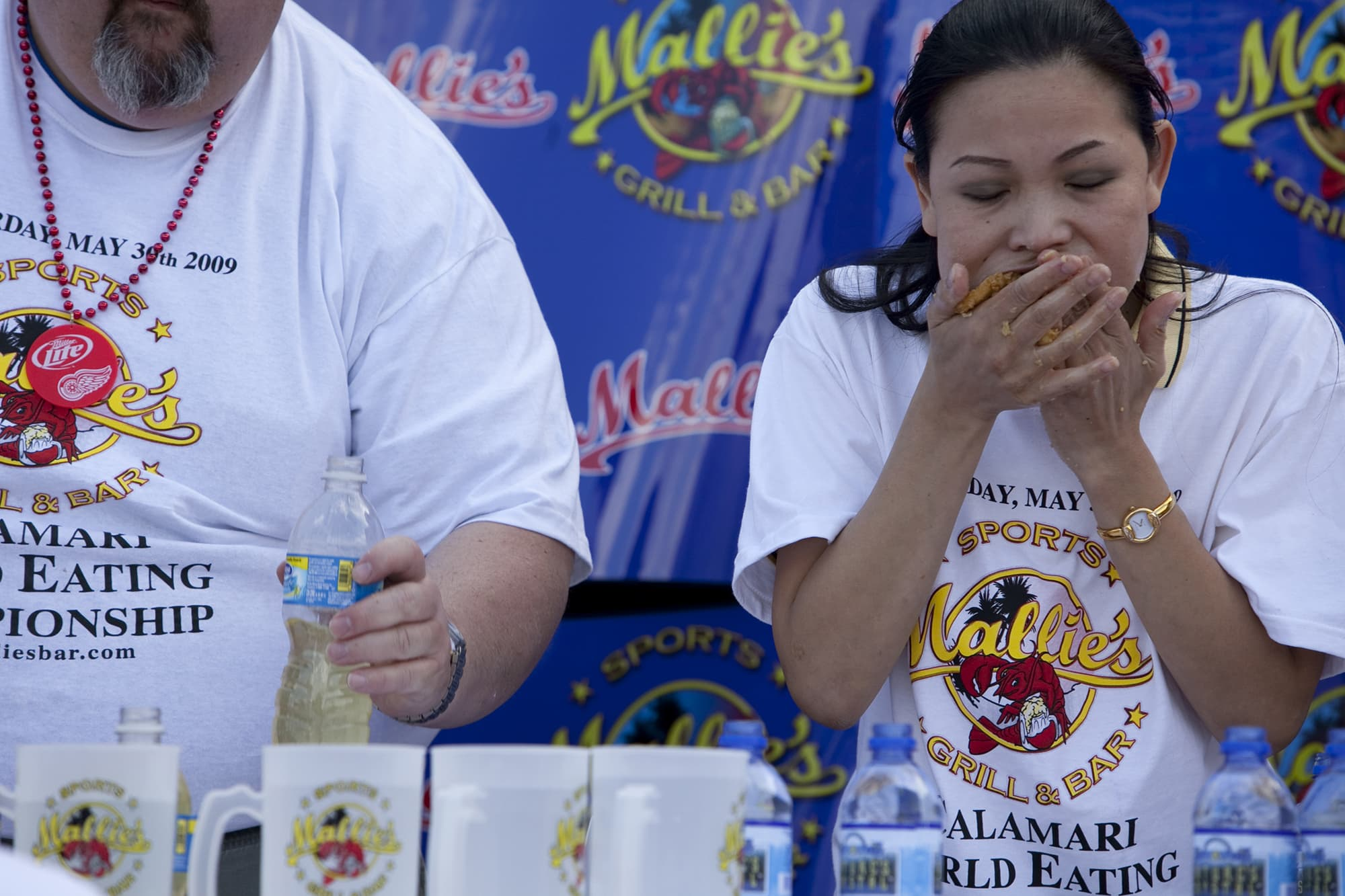 Calamari eating contest in Southgate, Michigan