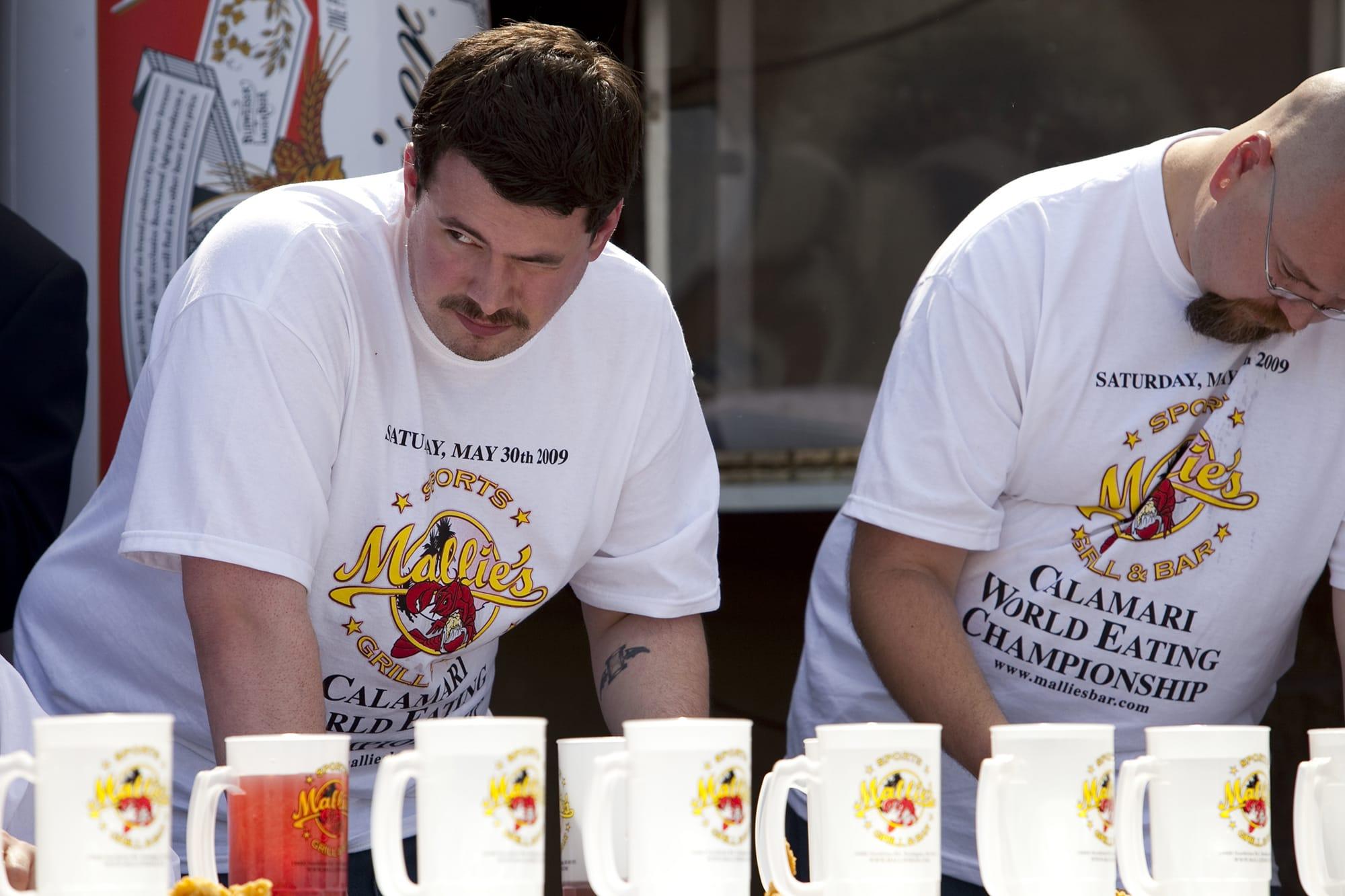 Calamari eating contest in Southgate, Michigan