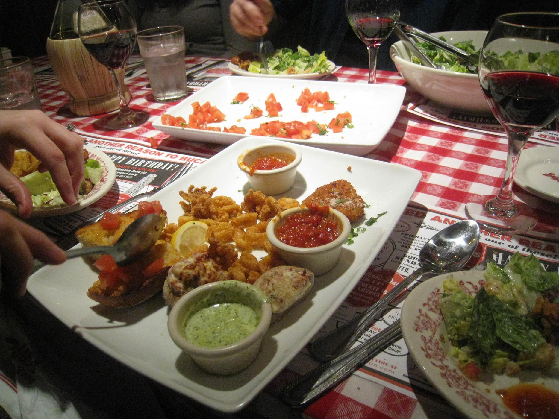 Fried Calamari and Fried Mozzarella at Bucca di Beppo