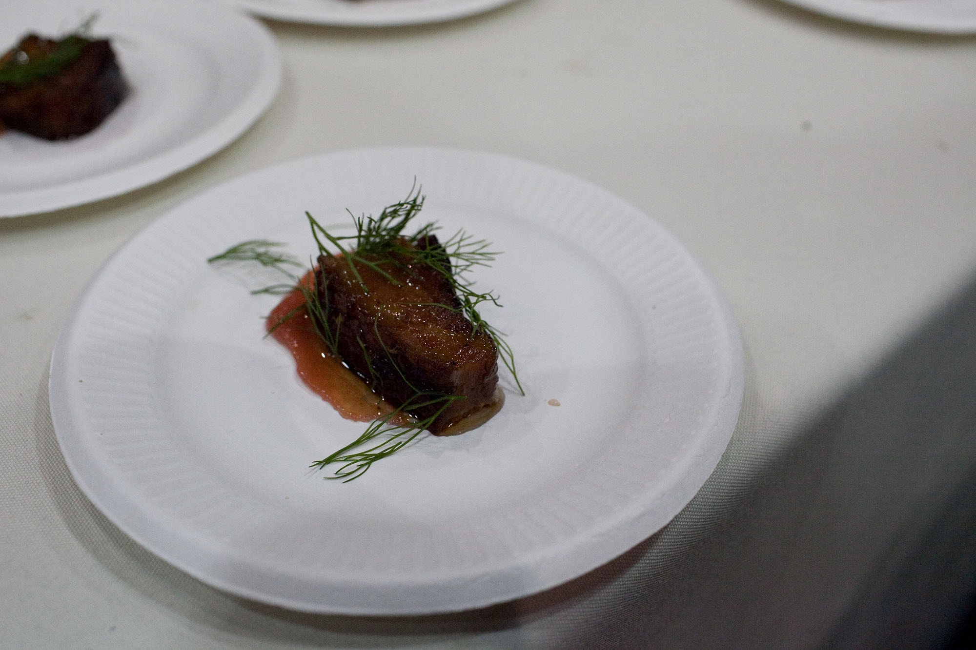 Slow Roasted Slab Bacon with Rhubarb and Burton's Sorghum from Naha at Baconfest Chicago