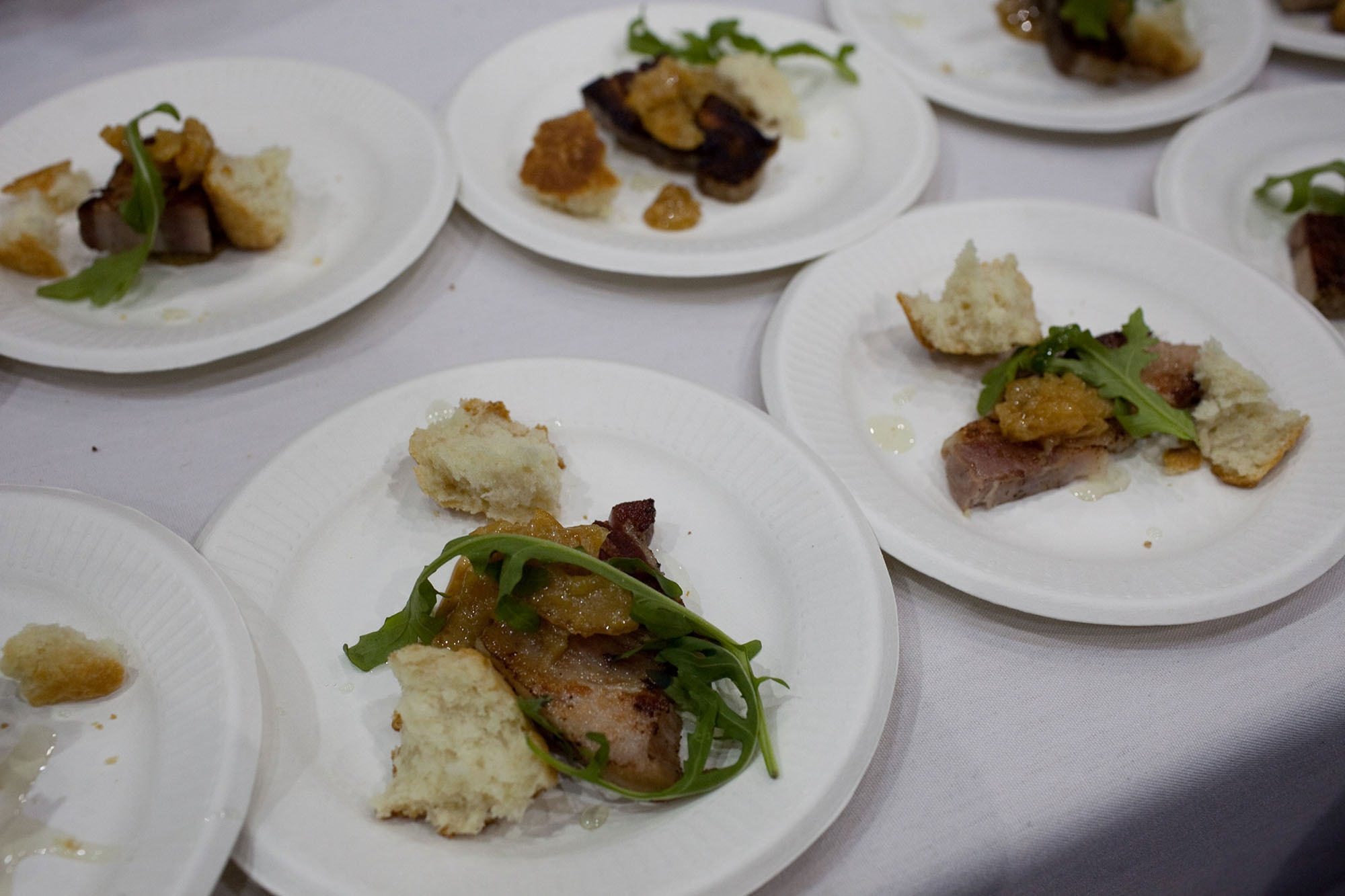 Roasted pork belly with meyer lemon marmalade, buttermilk biscuit and pine nut aillade from Vie at Baconfest Chicago