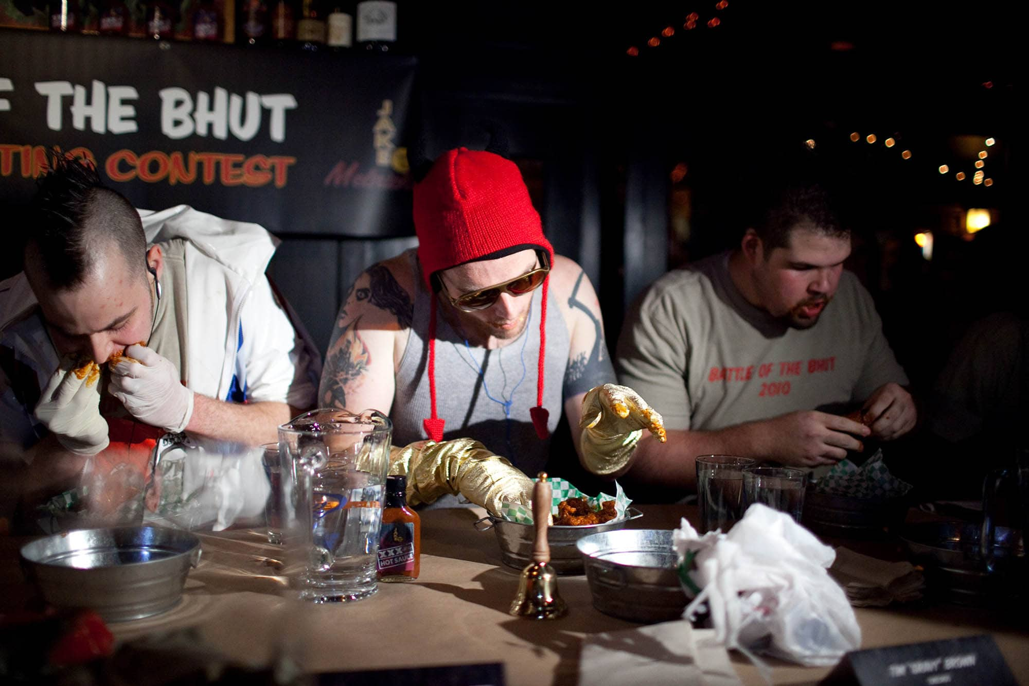 Battle of the Bhut XXX Wing Eating Contest in Chicago, Illinois.