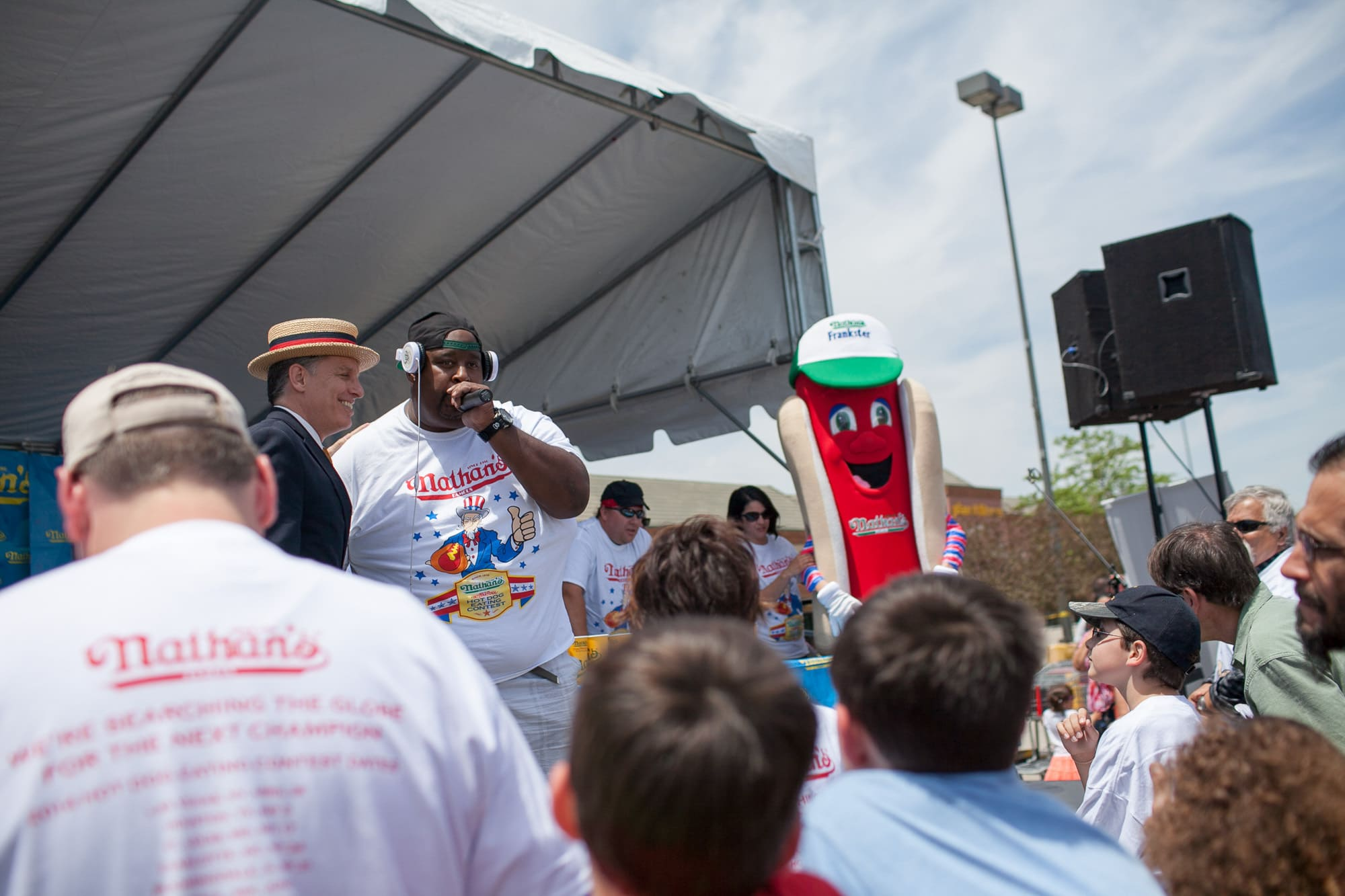 Eric Badlands Booker raps at the hot dog eating contest at the Bloomingdale, Illinois, Kmart