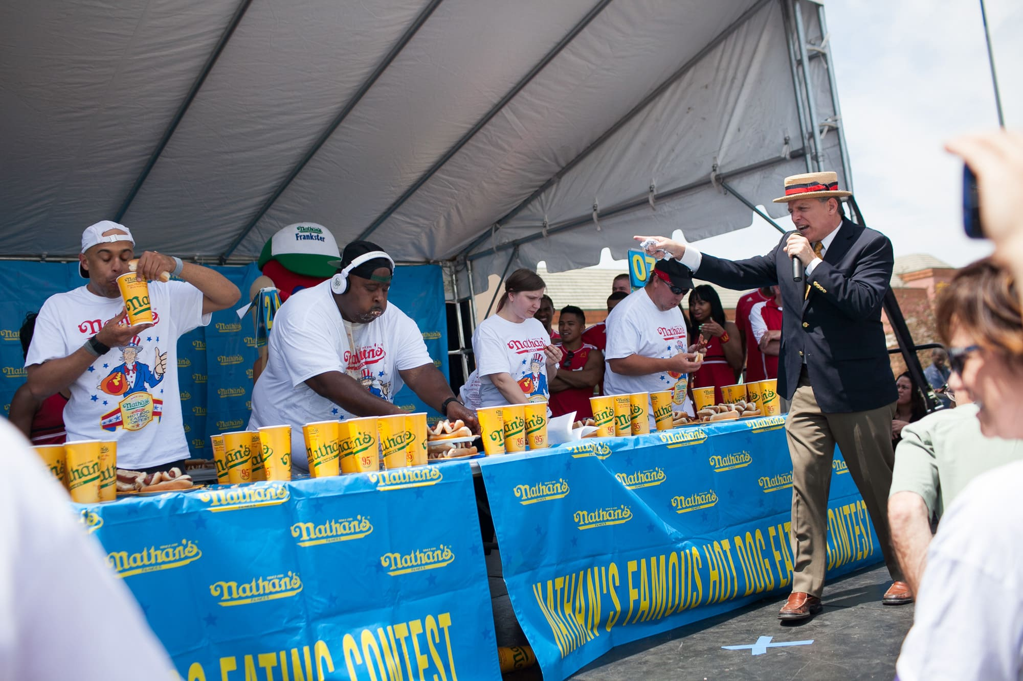 Nathan's Famous hot dog eating contest qualifier at the Bloomingdale, Illinois, Kmart