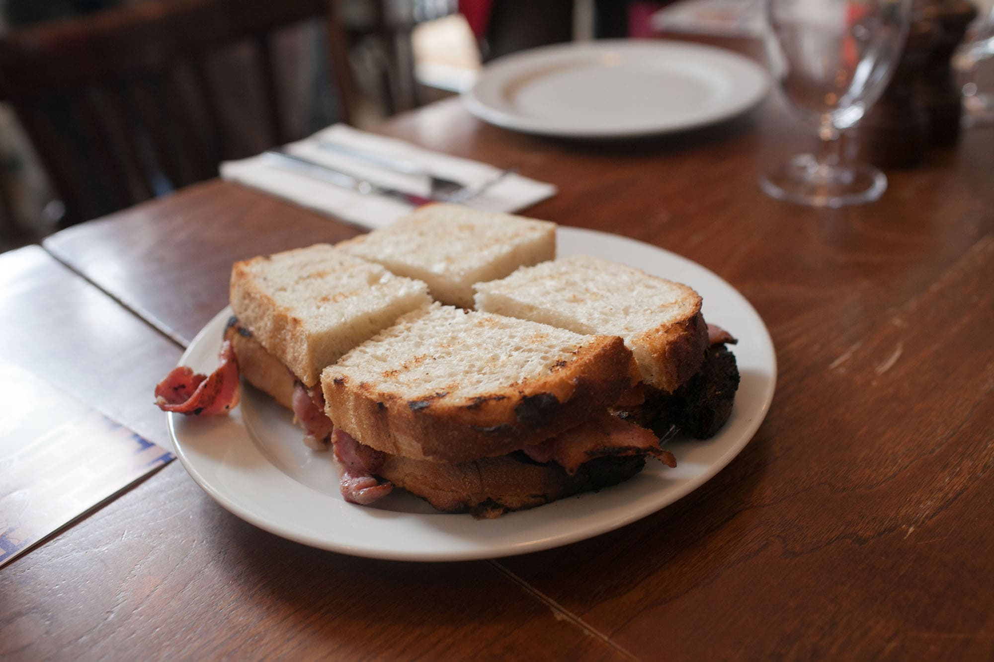 Bacon sandwich from  at the Eating London food tour in London, England
