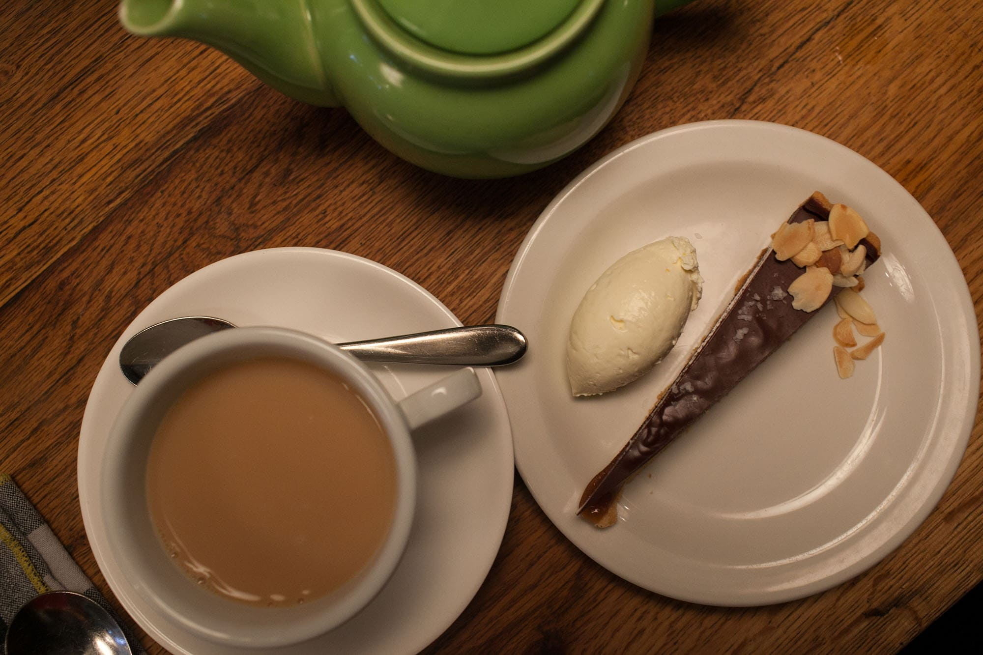 Salted Caramel Chocolate Tart at Pizza East on the Eating London food tour in London, England
