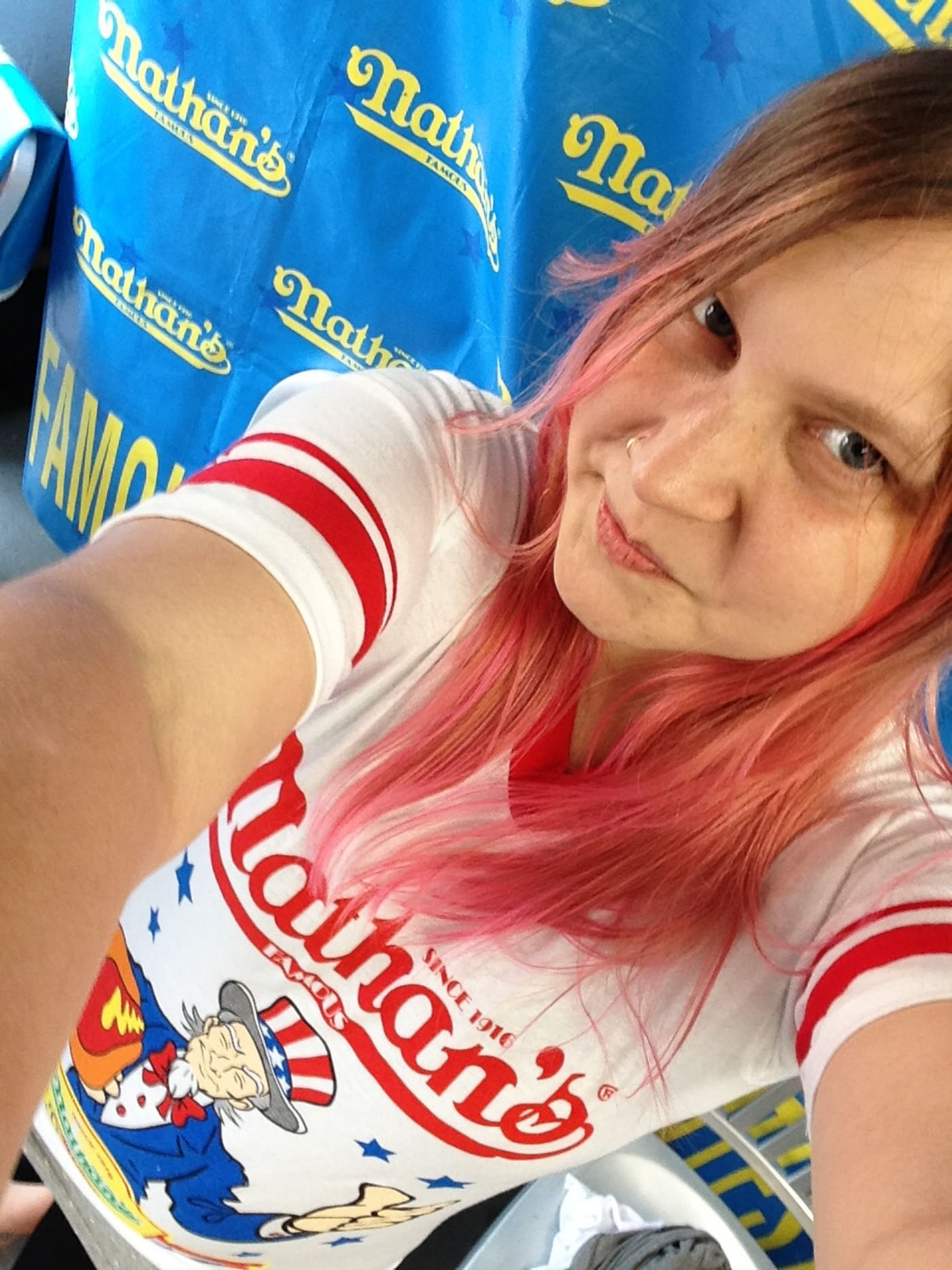 Dressed in my jersey for the Nathan's Famous July Fourth Hot Dog Eating Contest at Coney Island.