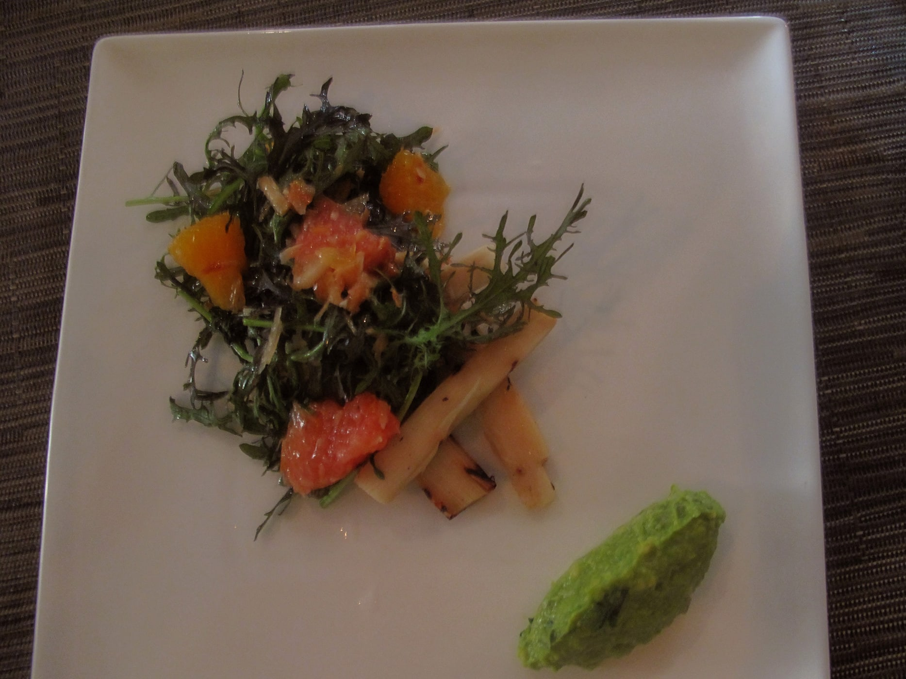 Eat vegetarian for a month - Grilled Heart of Palm and citrus salad with a little guacamole at Green Zebra restaurant in Chicago, Illinois