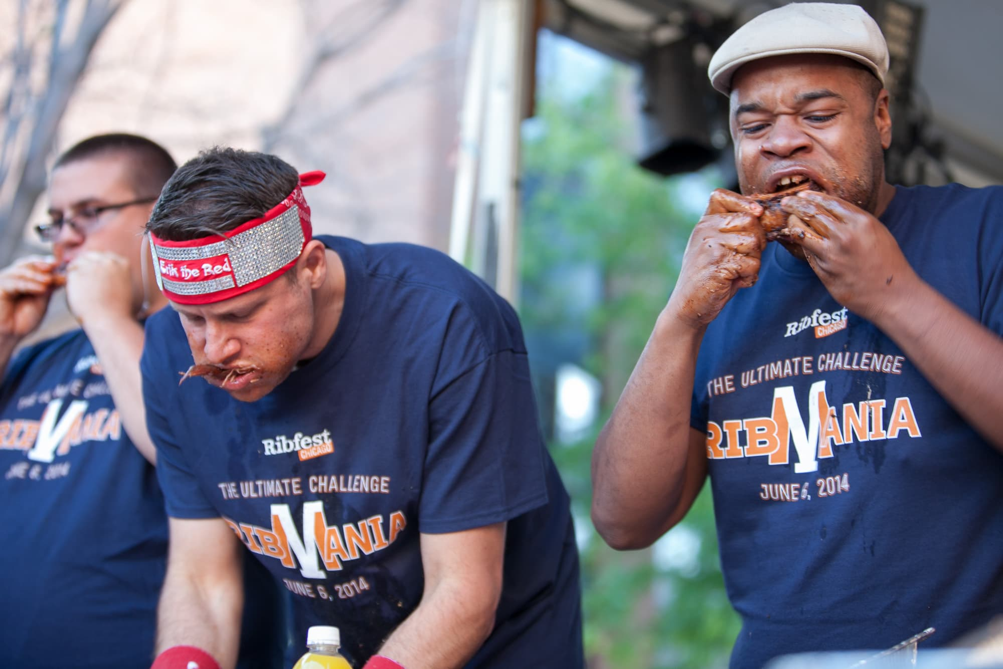 Competitive eaters at at Ribmania Ribs Eating Contest at Ribfest Chicago.