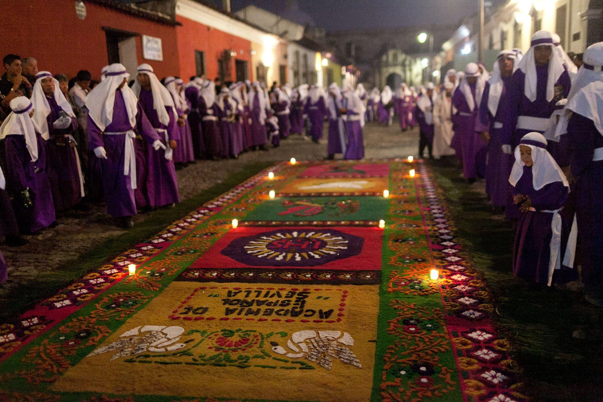 Alfombra sawdust carpet at a procession for Semana Santa in Antigua, Guatemala.