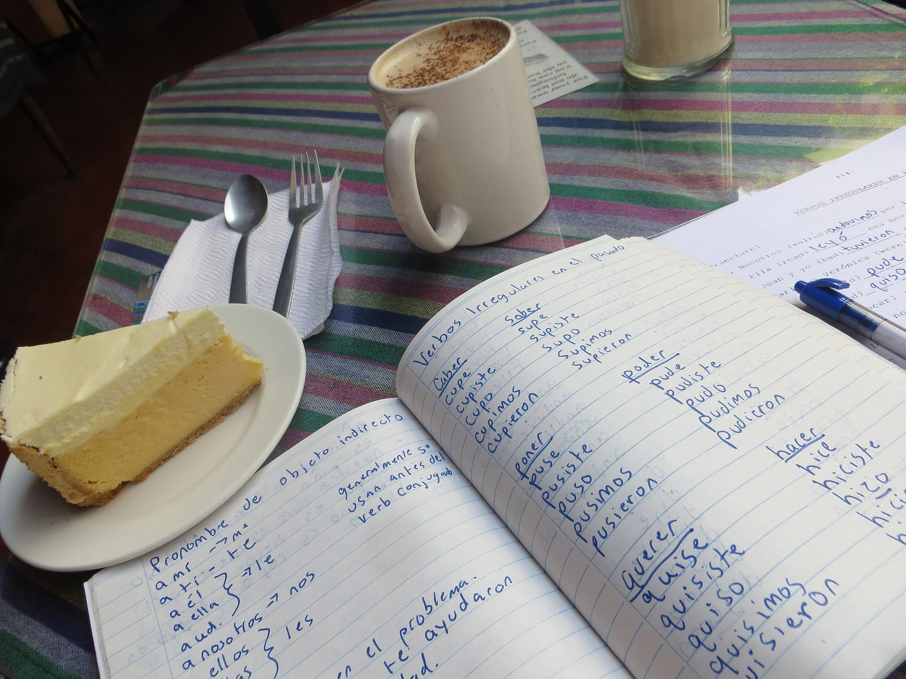 Studying Spanish over coffee and cake in Antigua, Guatemala