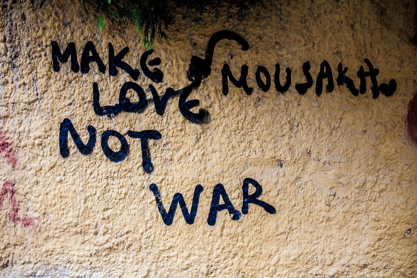 Make mousaka not war Athens, Greece