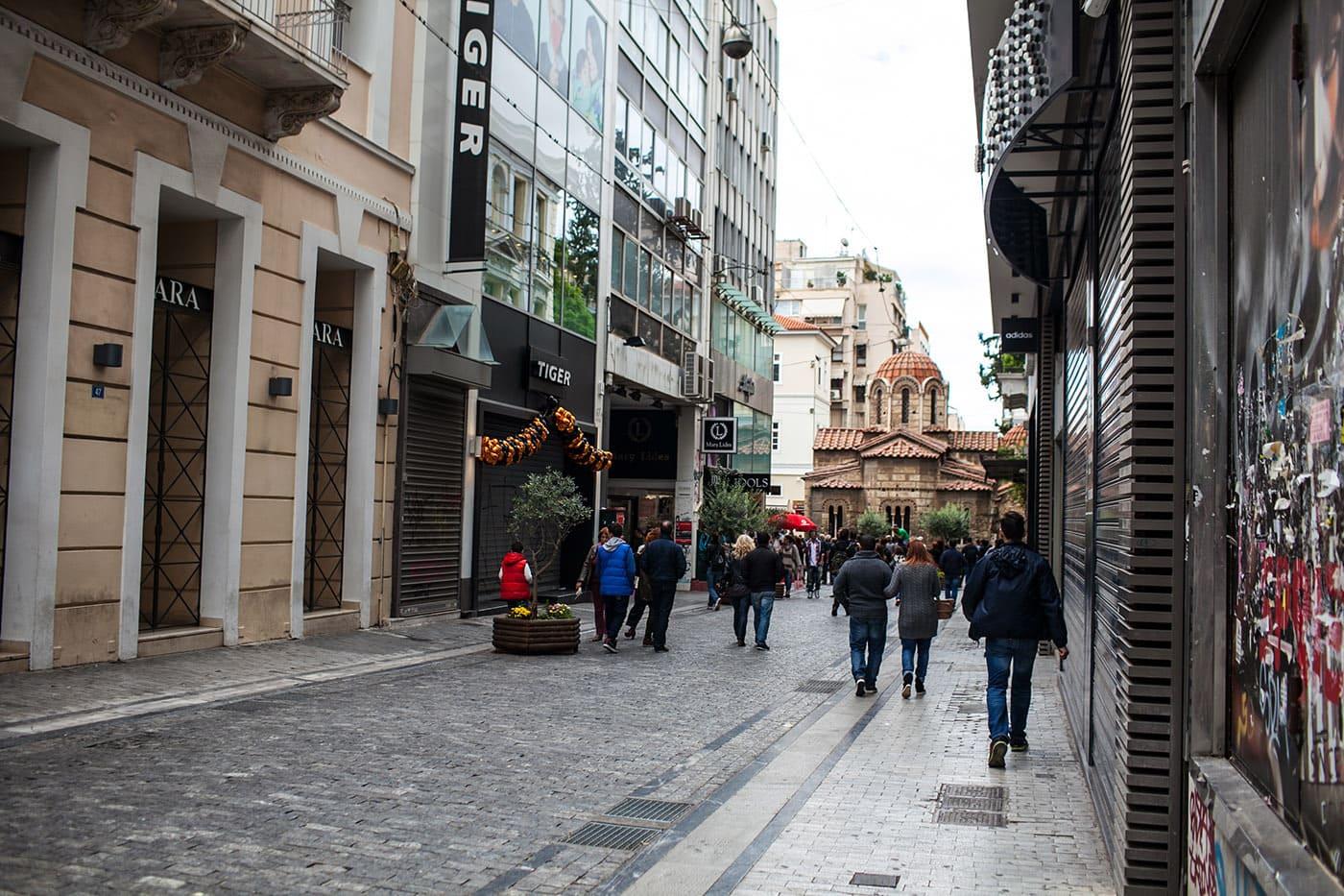 Ermou street Shopping in Athens, Greece