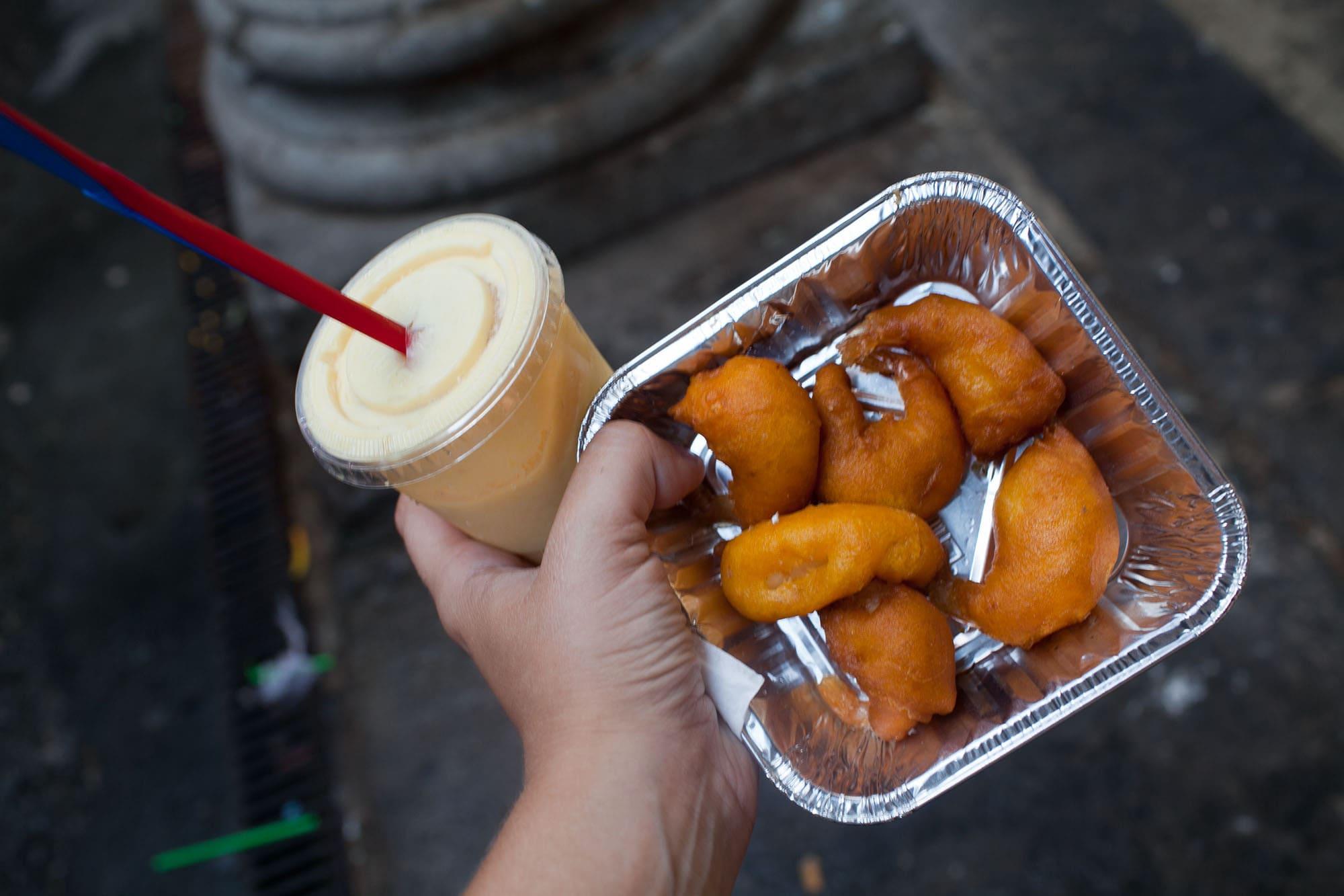 Fried shrimp from Mercat de Sant Josep de La Boqueria in Barcelona, Spain.