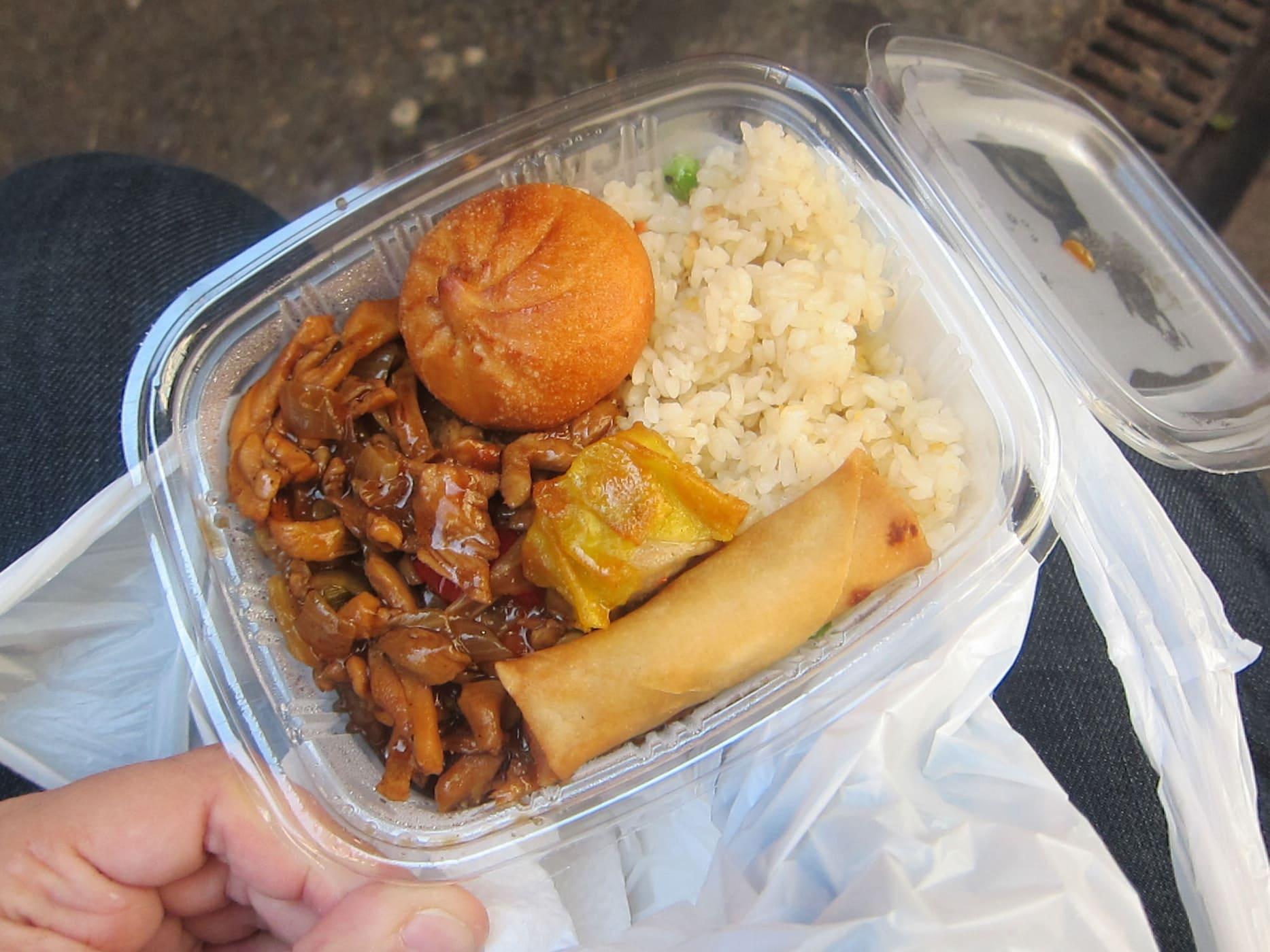 Chinese food from Mercat de Sant Josep de La Boqueria in Barcelona, Spain.