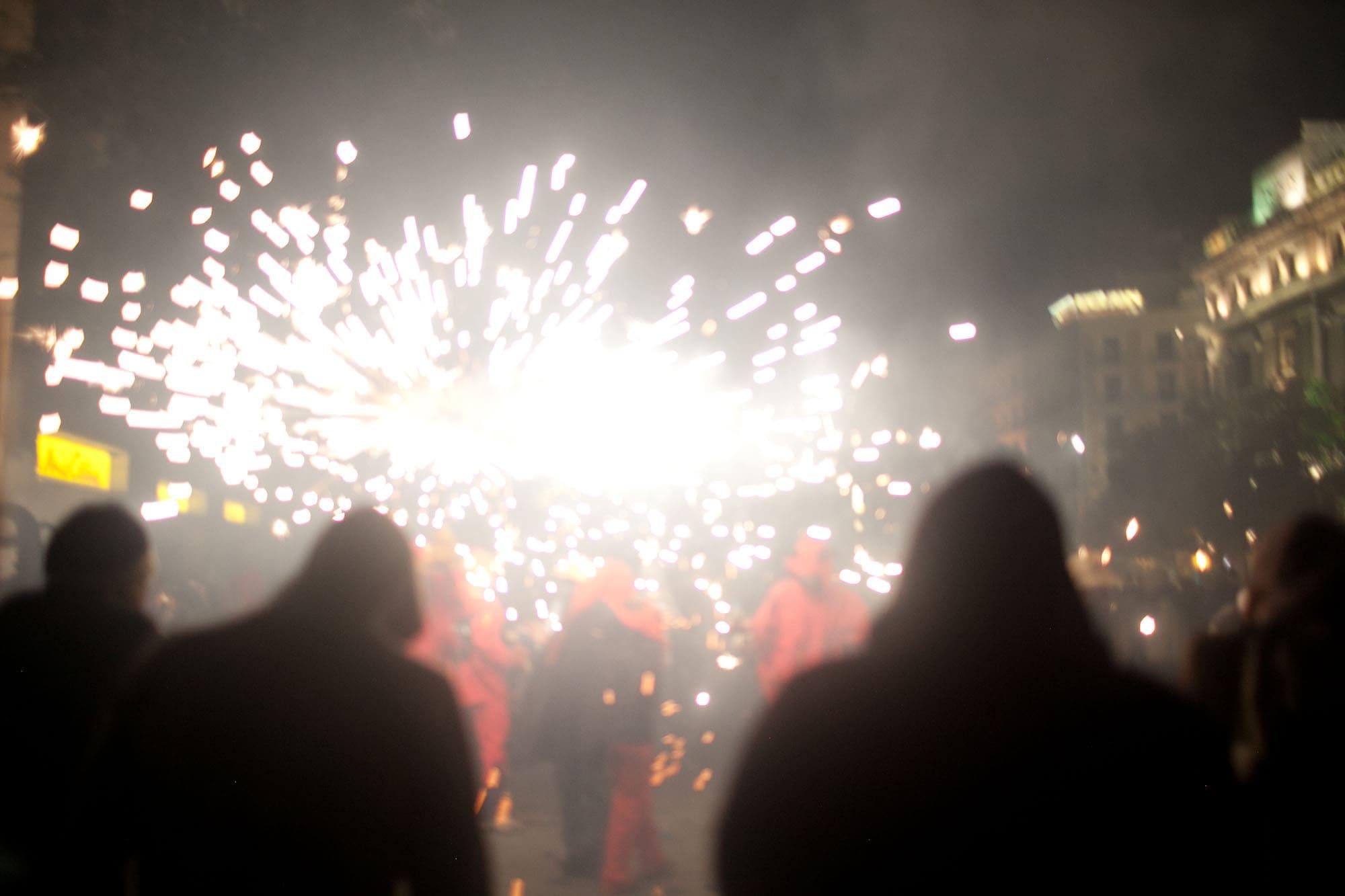 Correfoc: Hell's Gate - a fire parade at La Mercè Festival in Barcelona, Spain