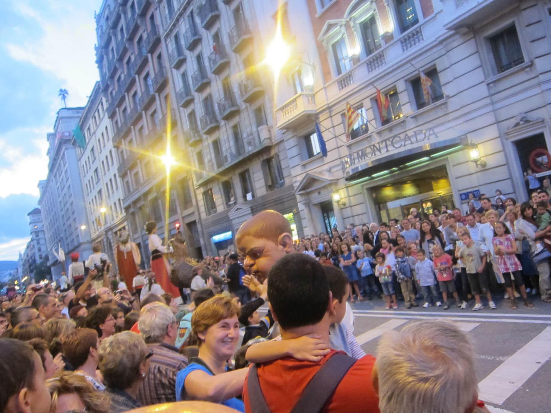 Gegants parade at La Mercè Festival in Barcelona, Spain