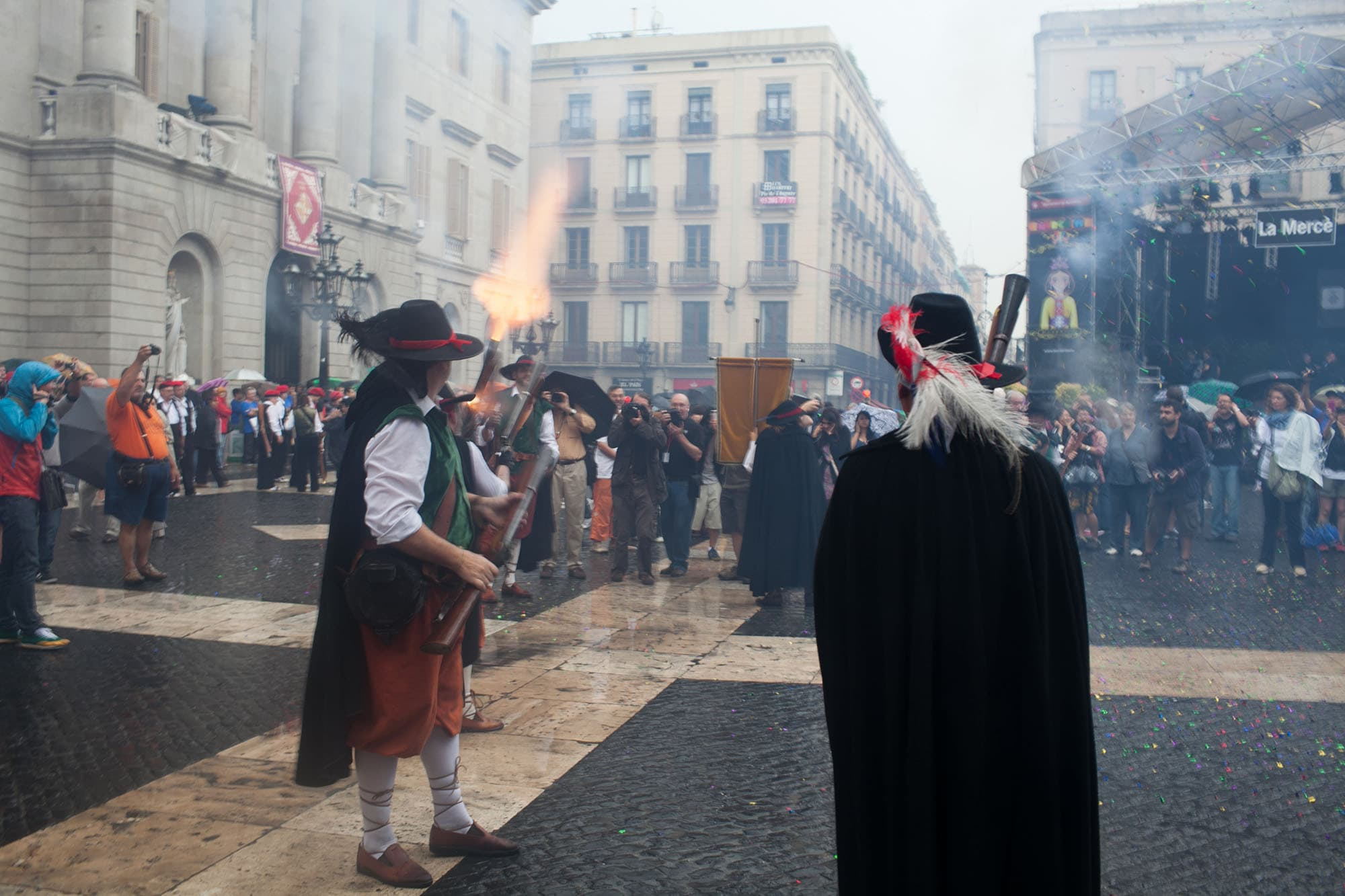 Gunshots wake up the square at La Mercè Festival in Barcelona, Spain
