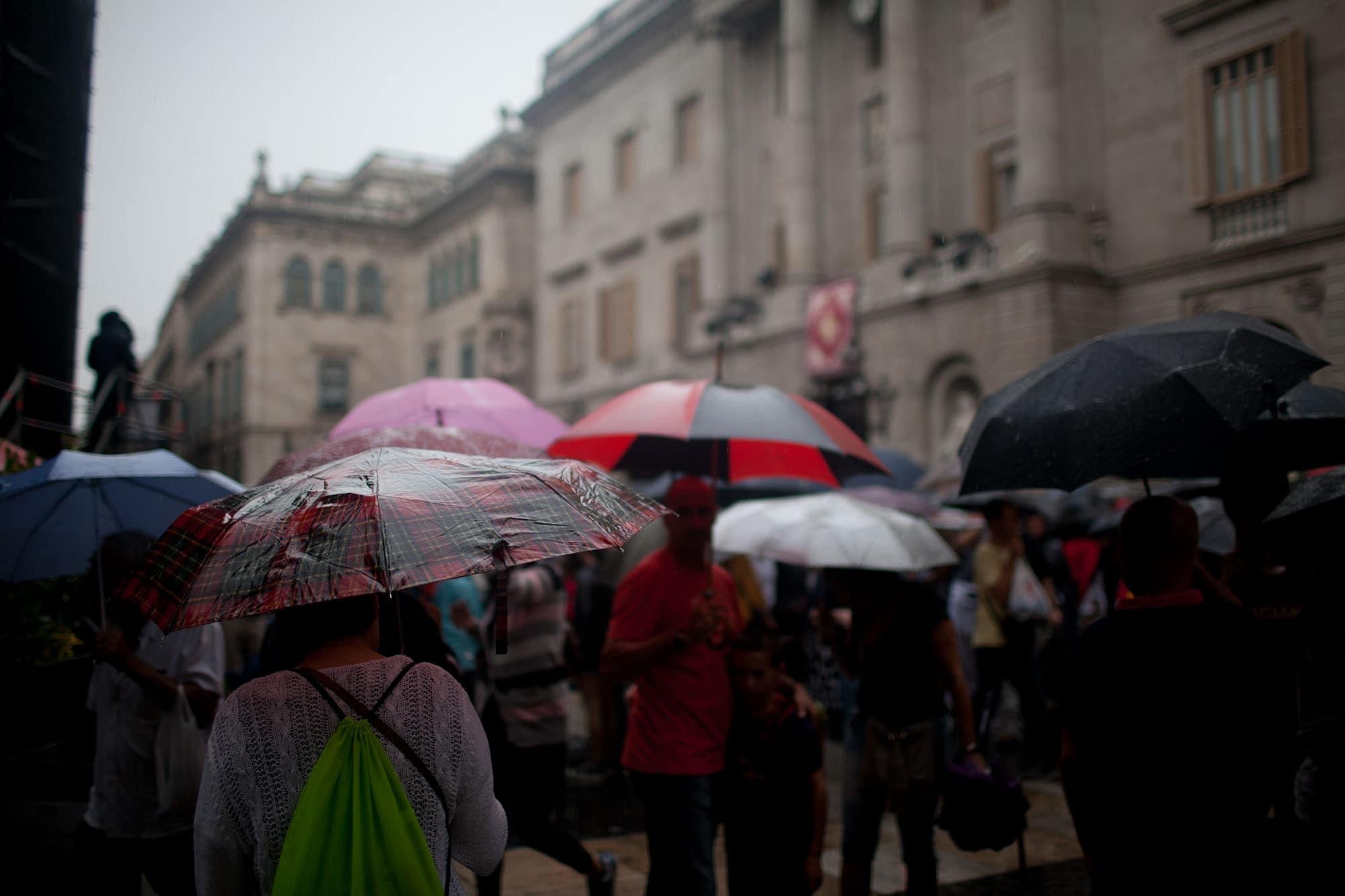 Rained out La Mercè 2011 in Barcelona, Spain