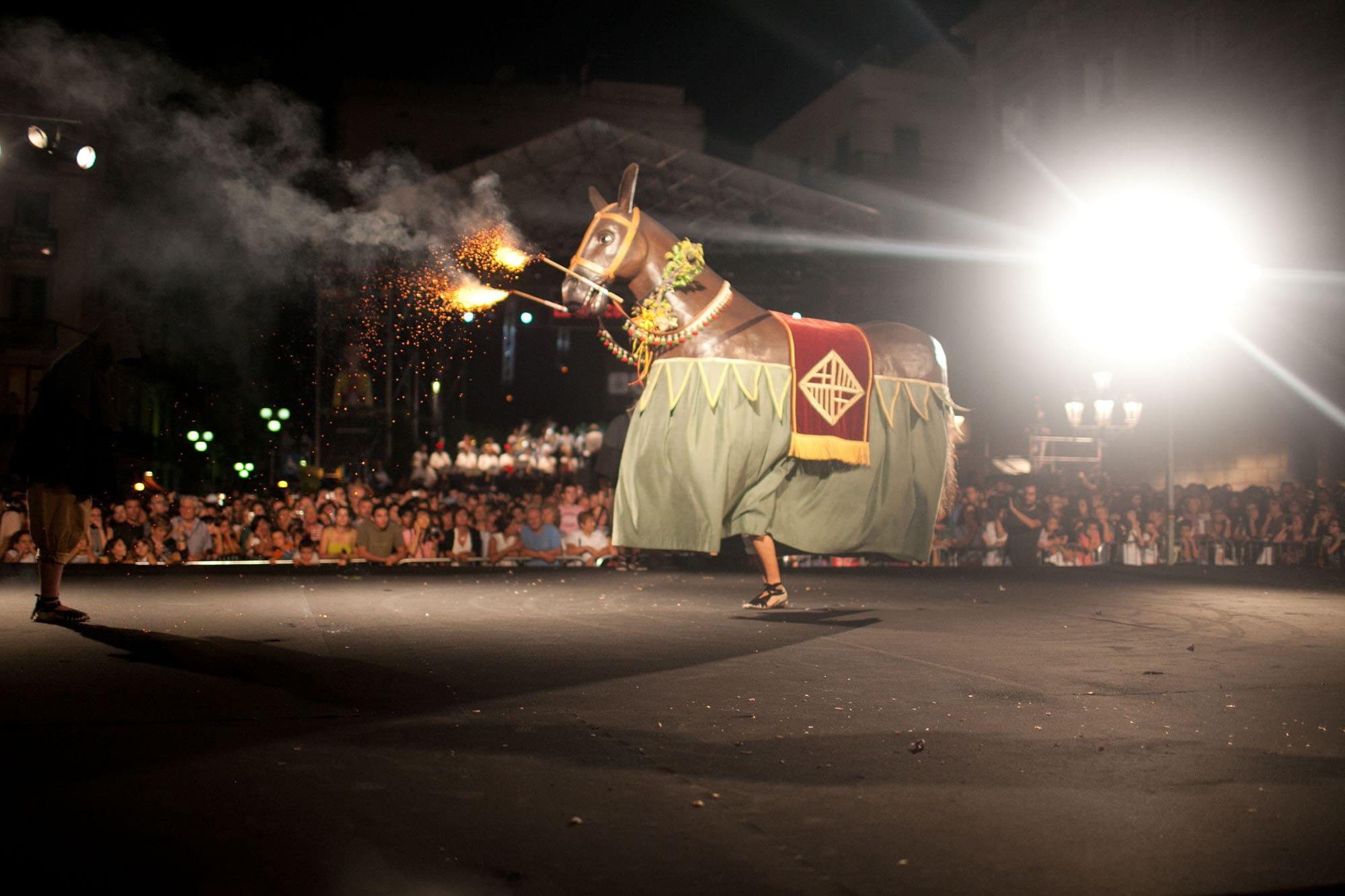 Fire horse at the Opening Ceremony of La Mercè 2011 in Barcelona, Spain