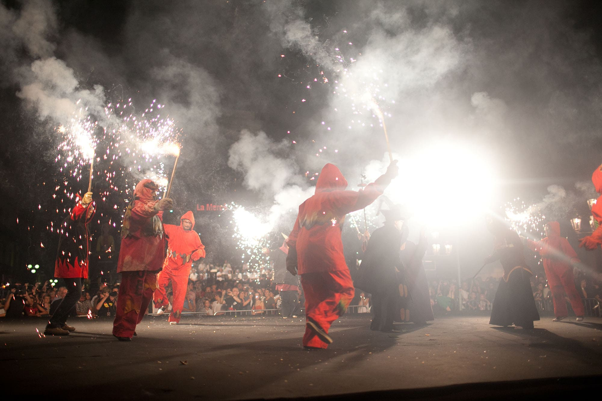 Correfoc at the Opening Ceremony of La Mercè 2011 in Barcelona, Spain