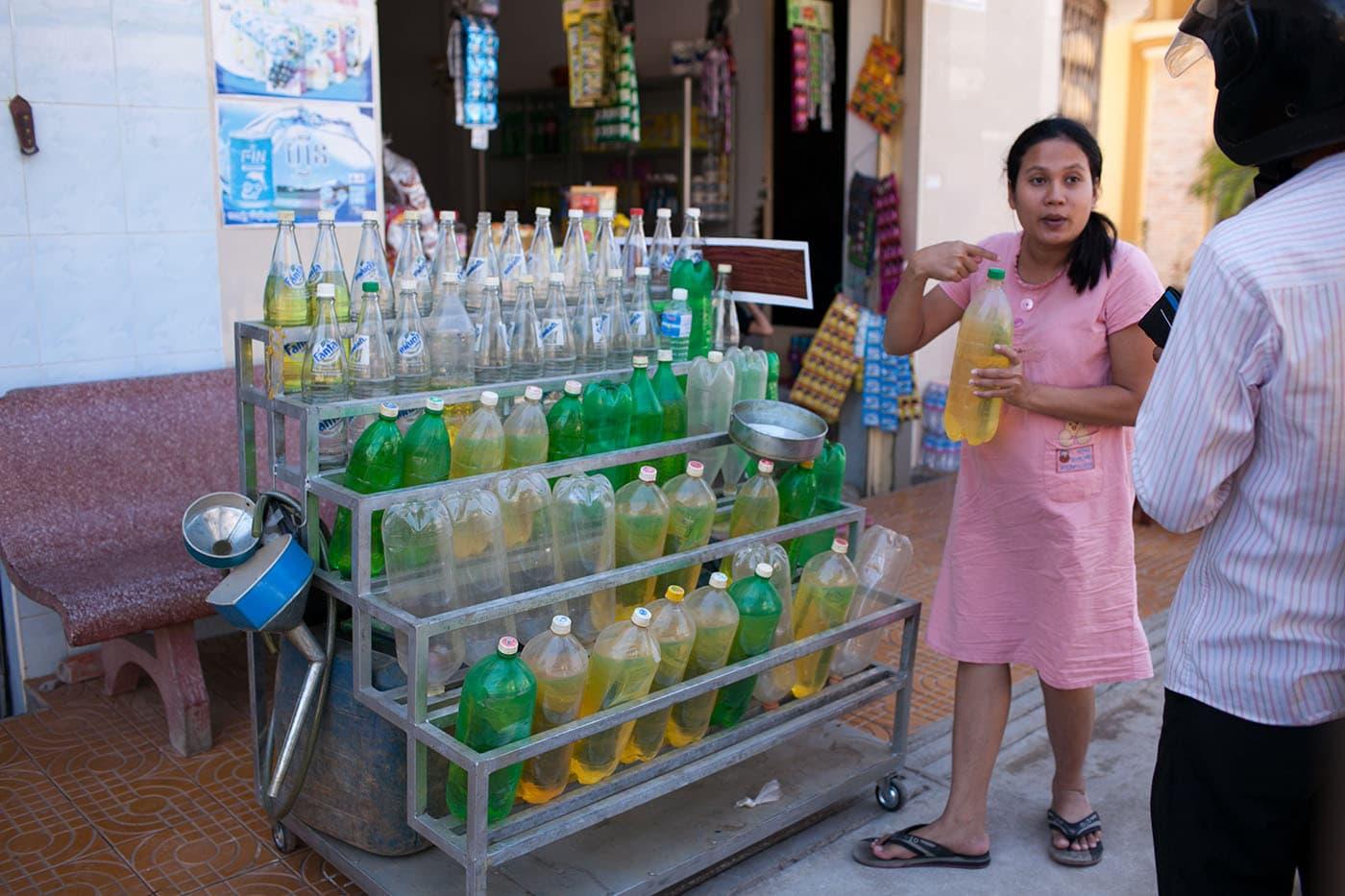 Motorbike gas station in Battambang, Cambodia