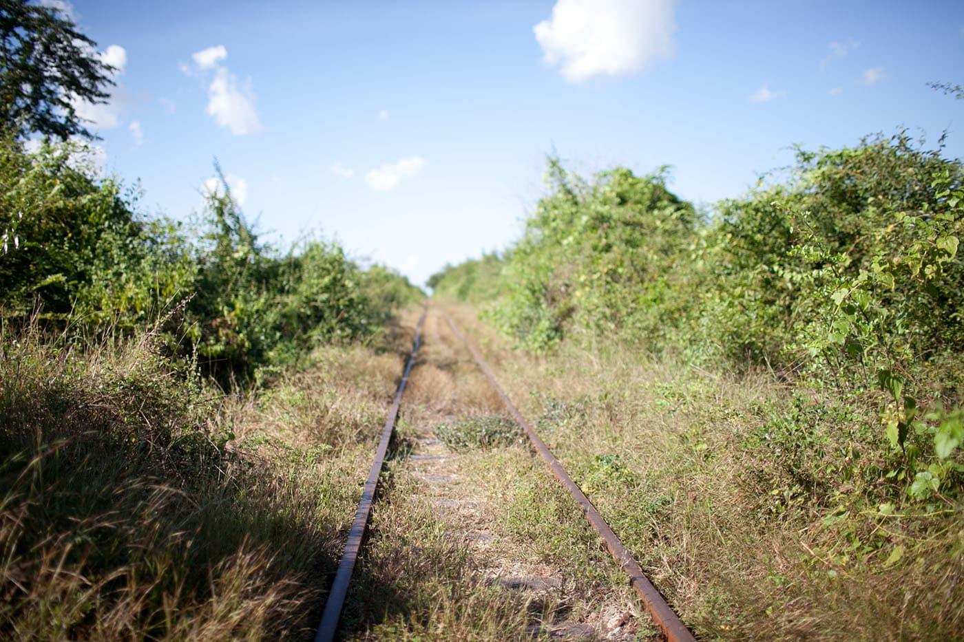 Riding the bamboo railroad in Battambang, Cambodia