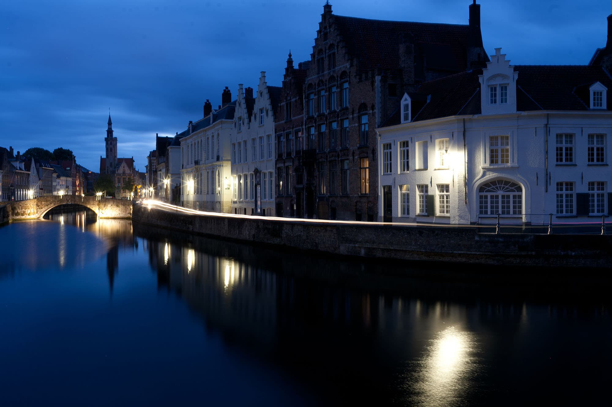 Canals at night in Bruges, Belgium