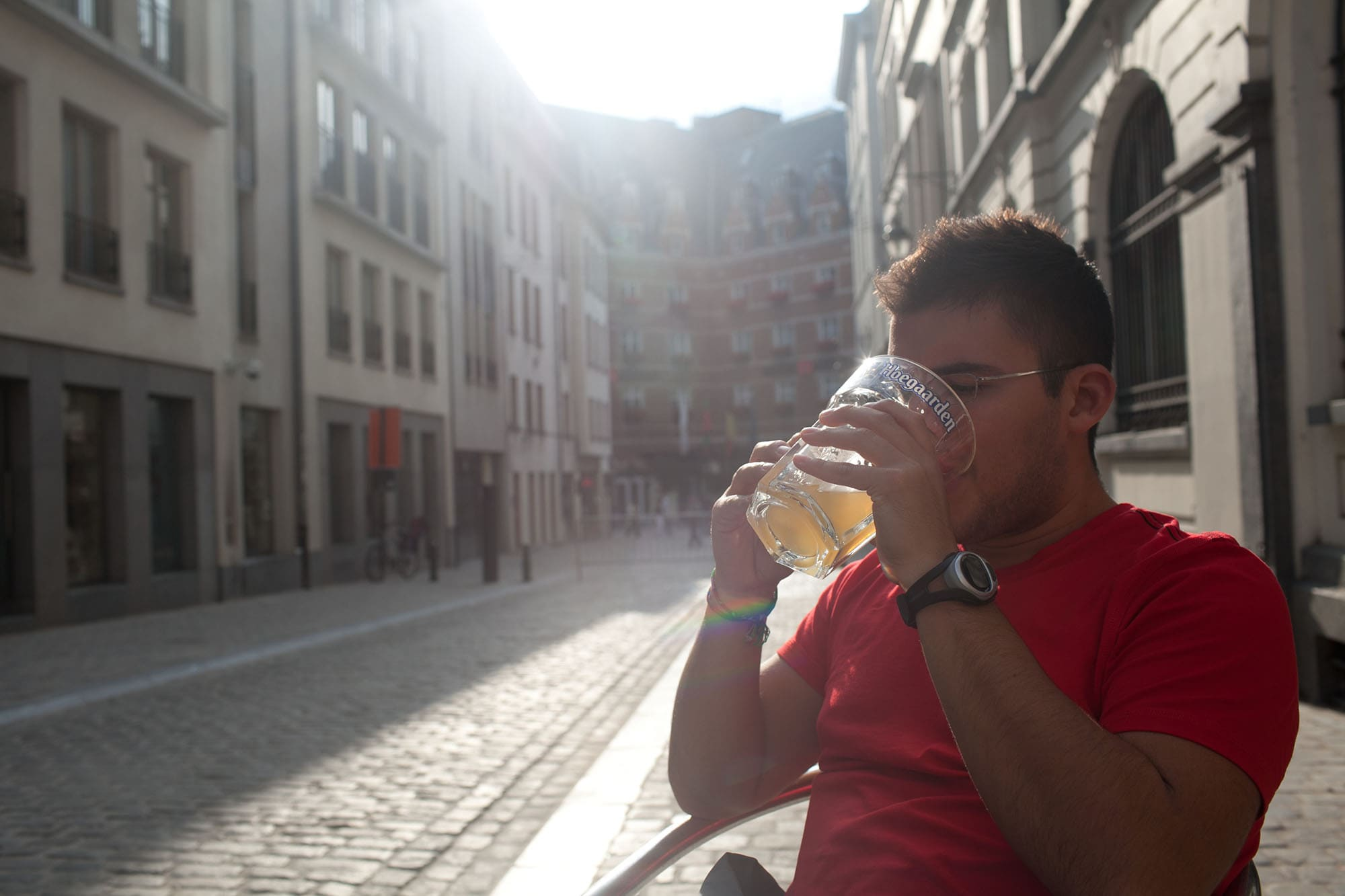 Beers on the square in Brussels, Belgium