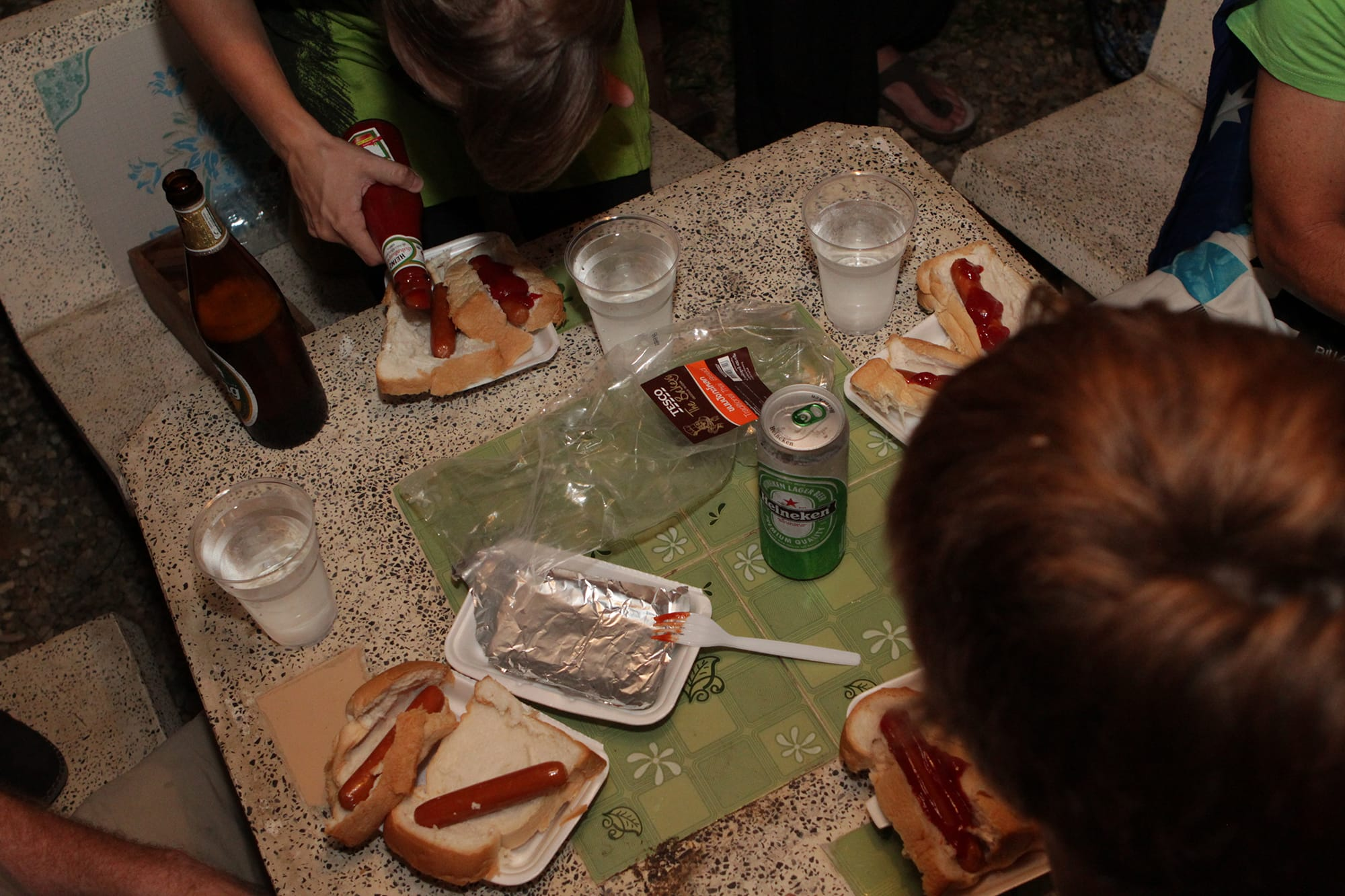 Fourth of July hot dog eating contest at Deejai Backpackers in Chiang Mai, Thailand