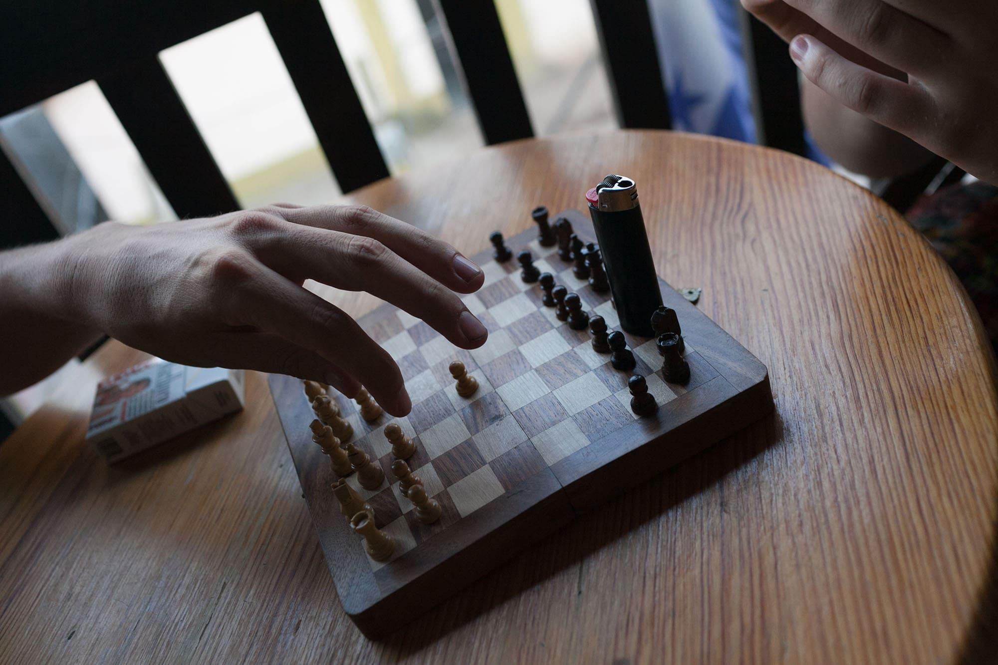 Playing chess in Copan Ruinas, Honduras