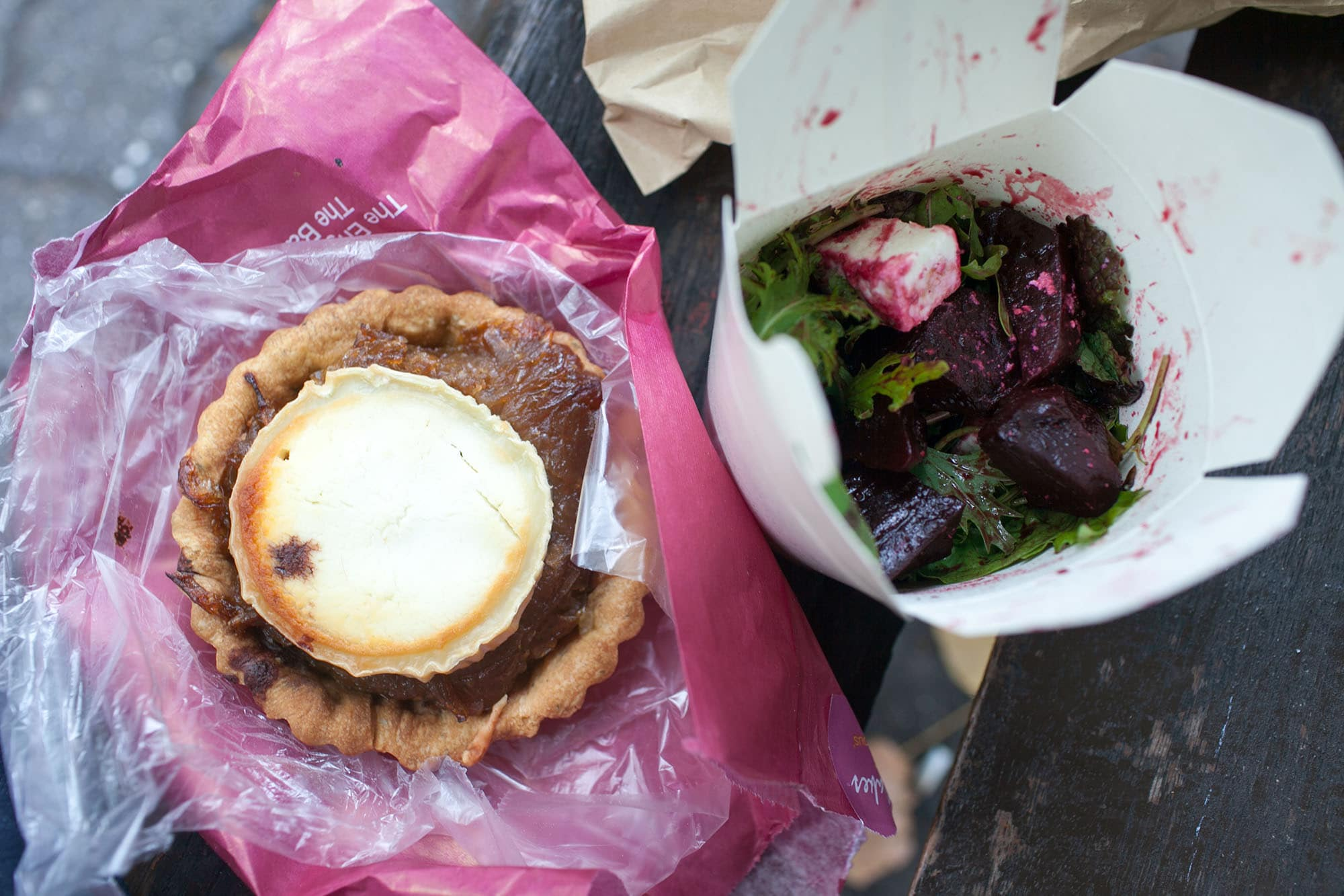 Tart and beet salad from the market in Cork, Ireland