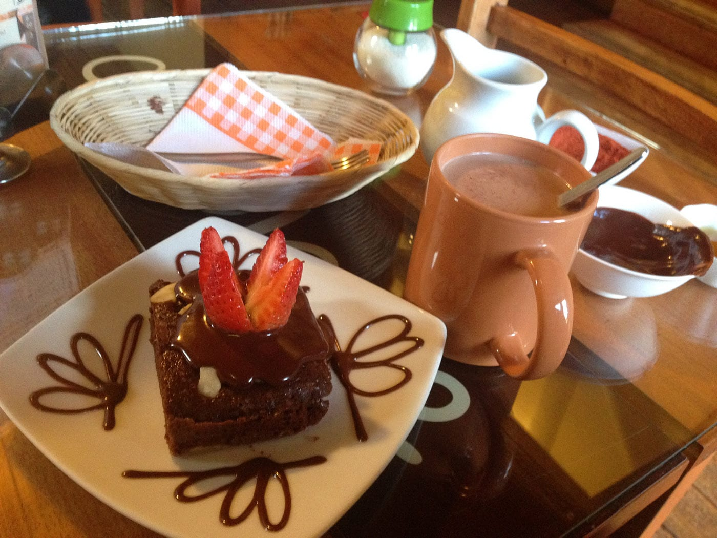 Brownie and hot chocolate at the chocolate museum in Cusco, Peru
