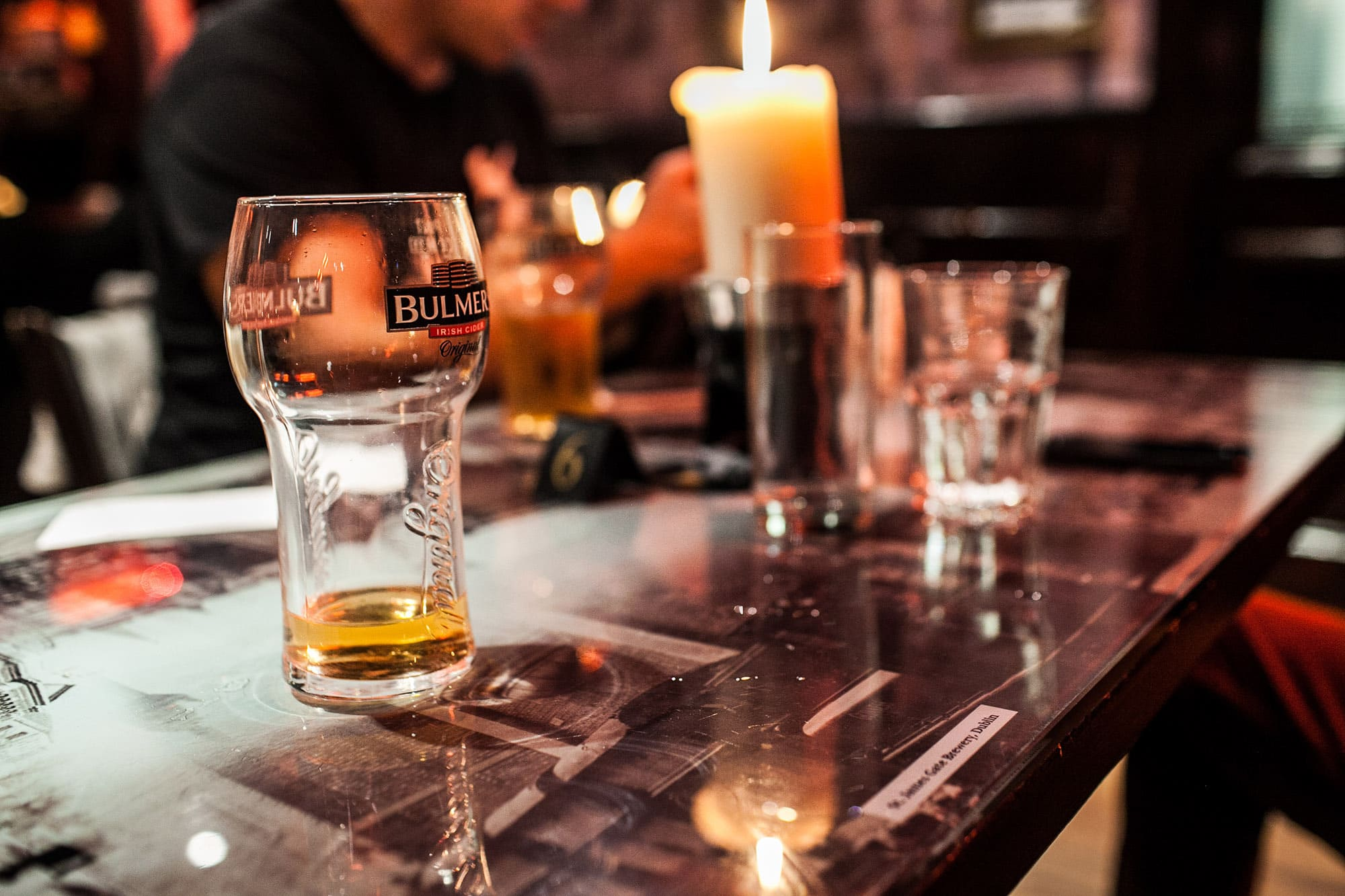 An empty glass of Bulmers at a pub in Dublin, Ireland