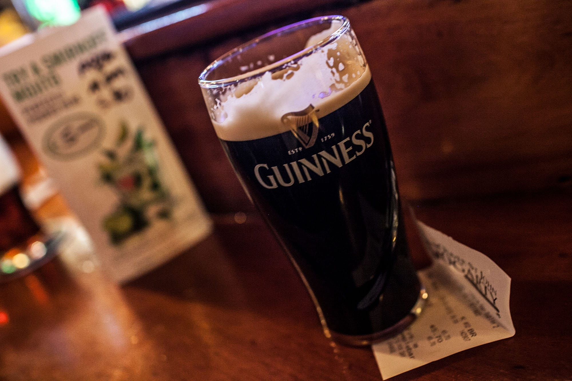 Pint of Guinness at a pub in Dublin, Ireland