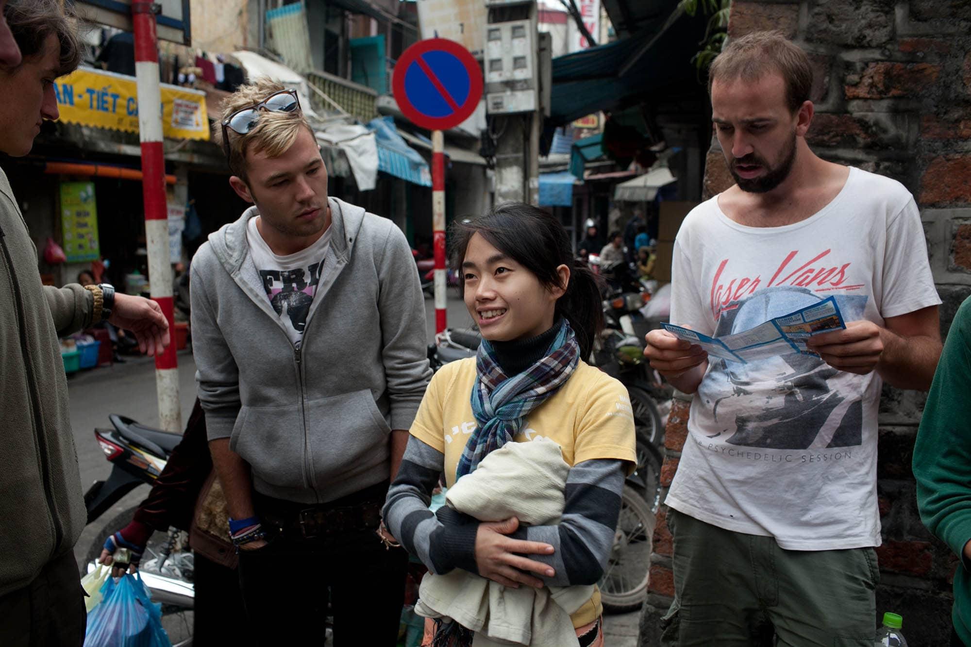 Walking tour in Hanoi, Vietnam.