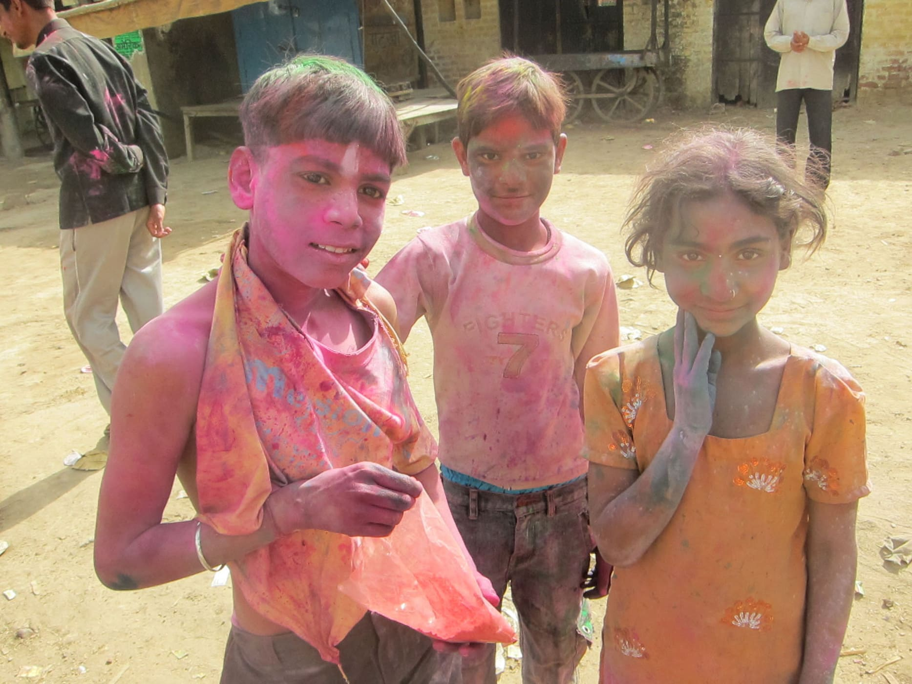 Holi Color Festival in Mathura, India.