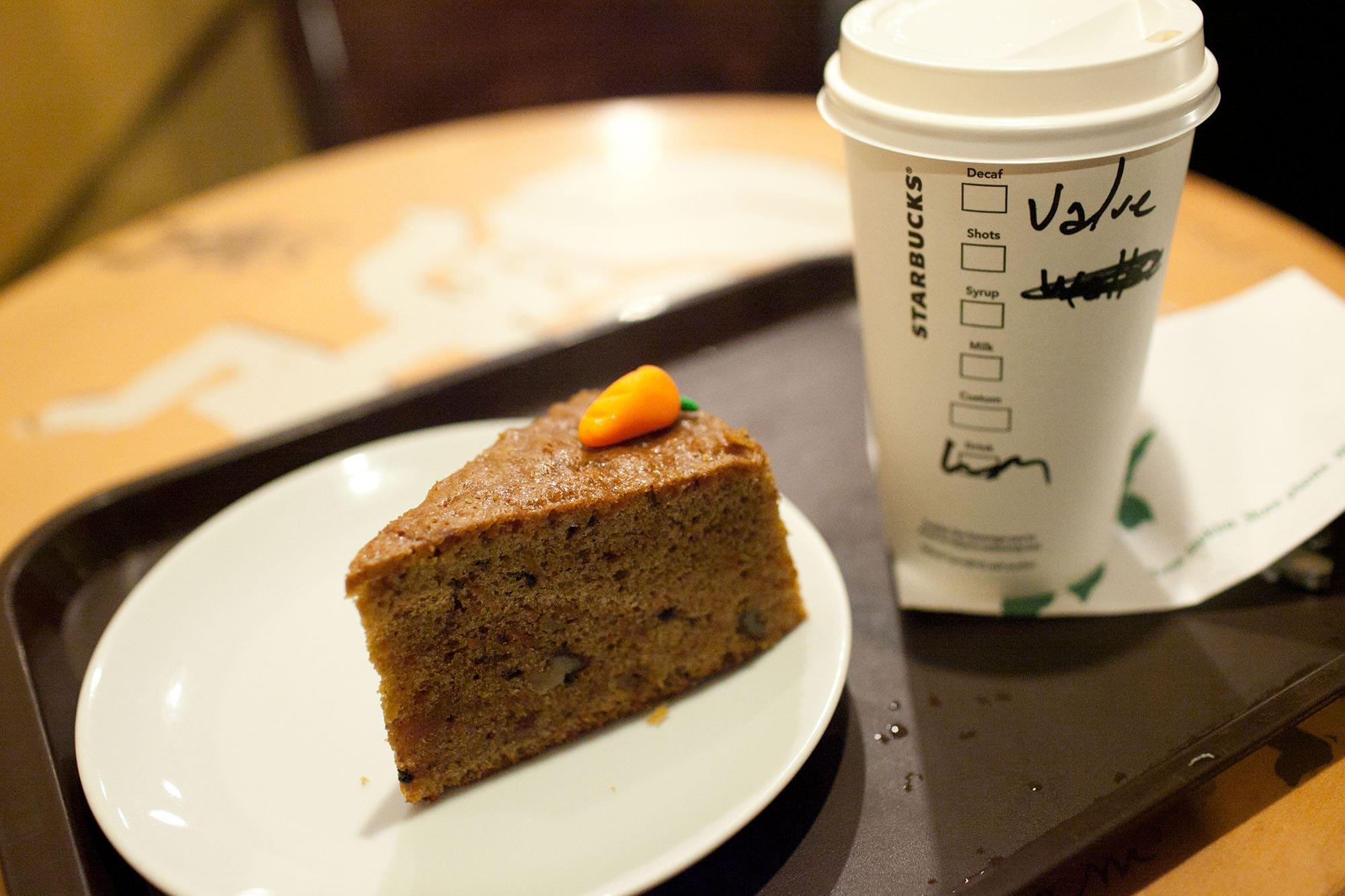 Carrot cake at Starbucks in Istanbul, Turkey
