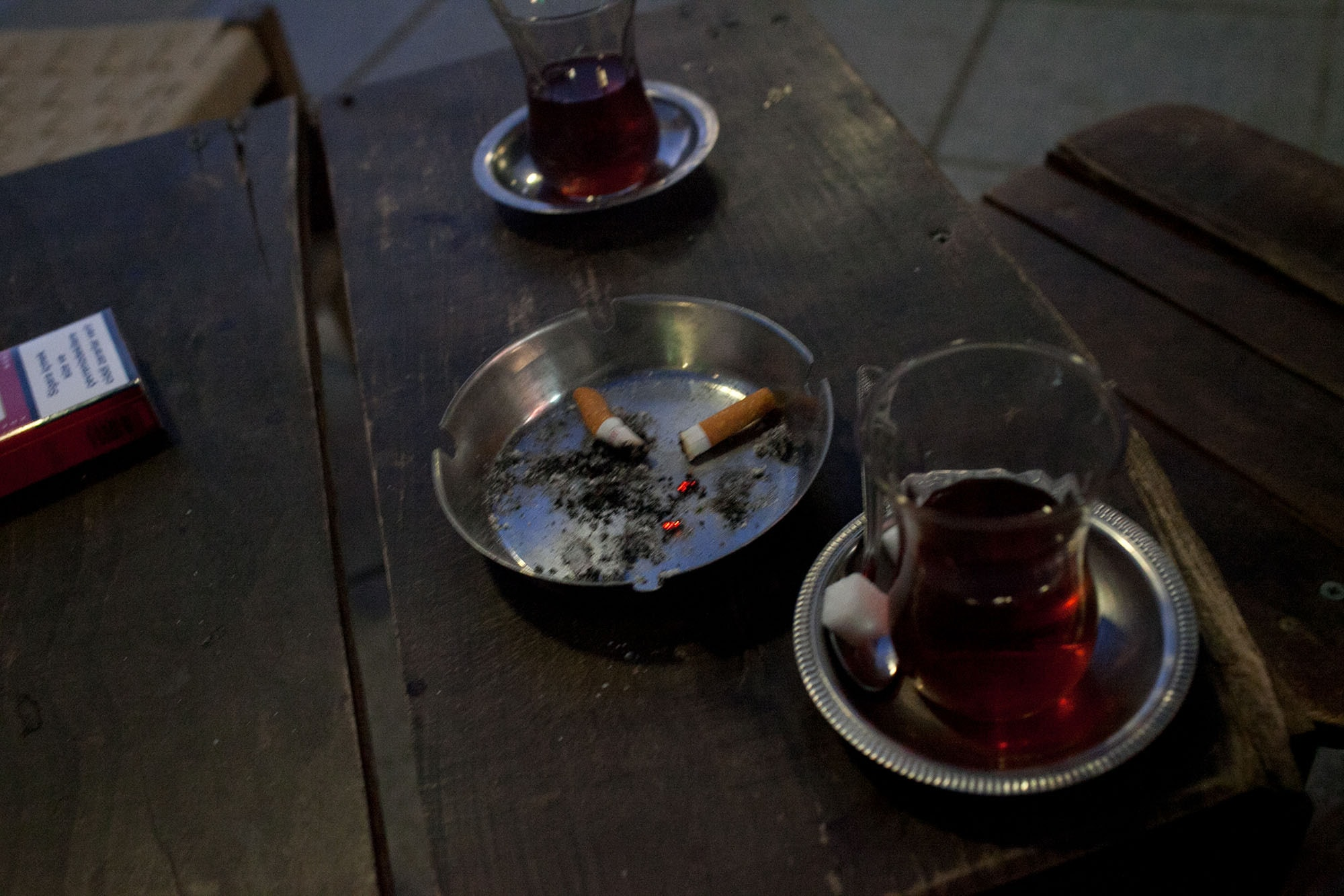 Tea and cigarettes in Izmir, Turkey