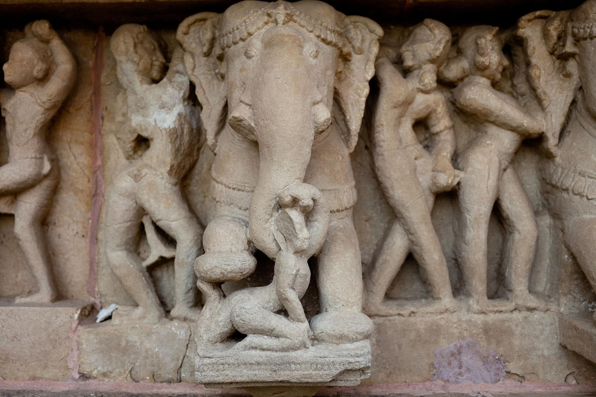 Elephant at Western Group sex temples in Khajuraho, India.