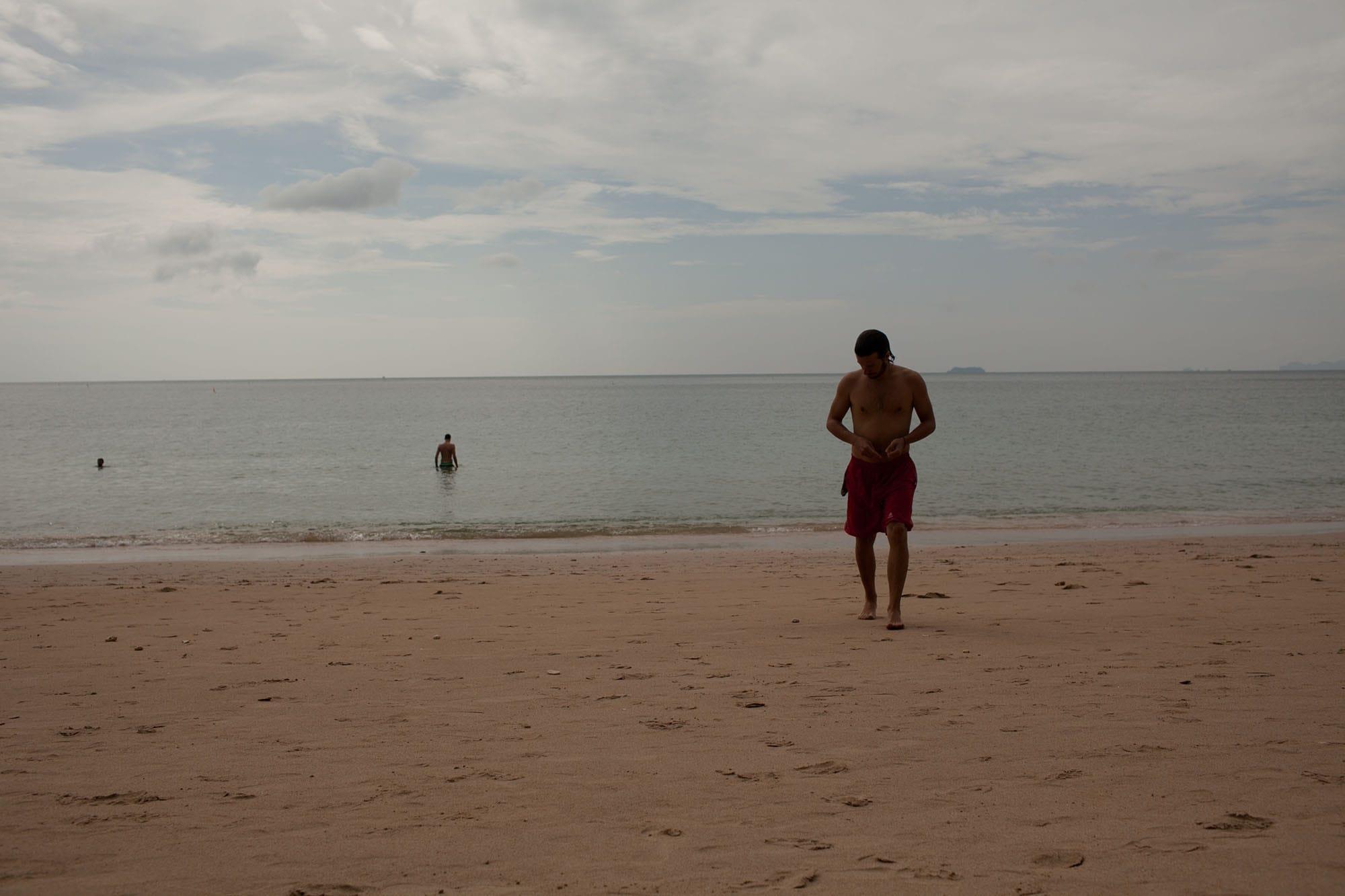 Returning from a swim in Koh Lanta, Thailand