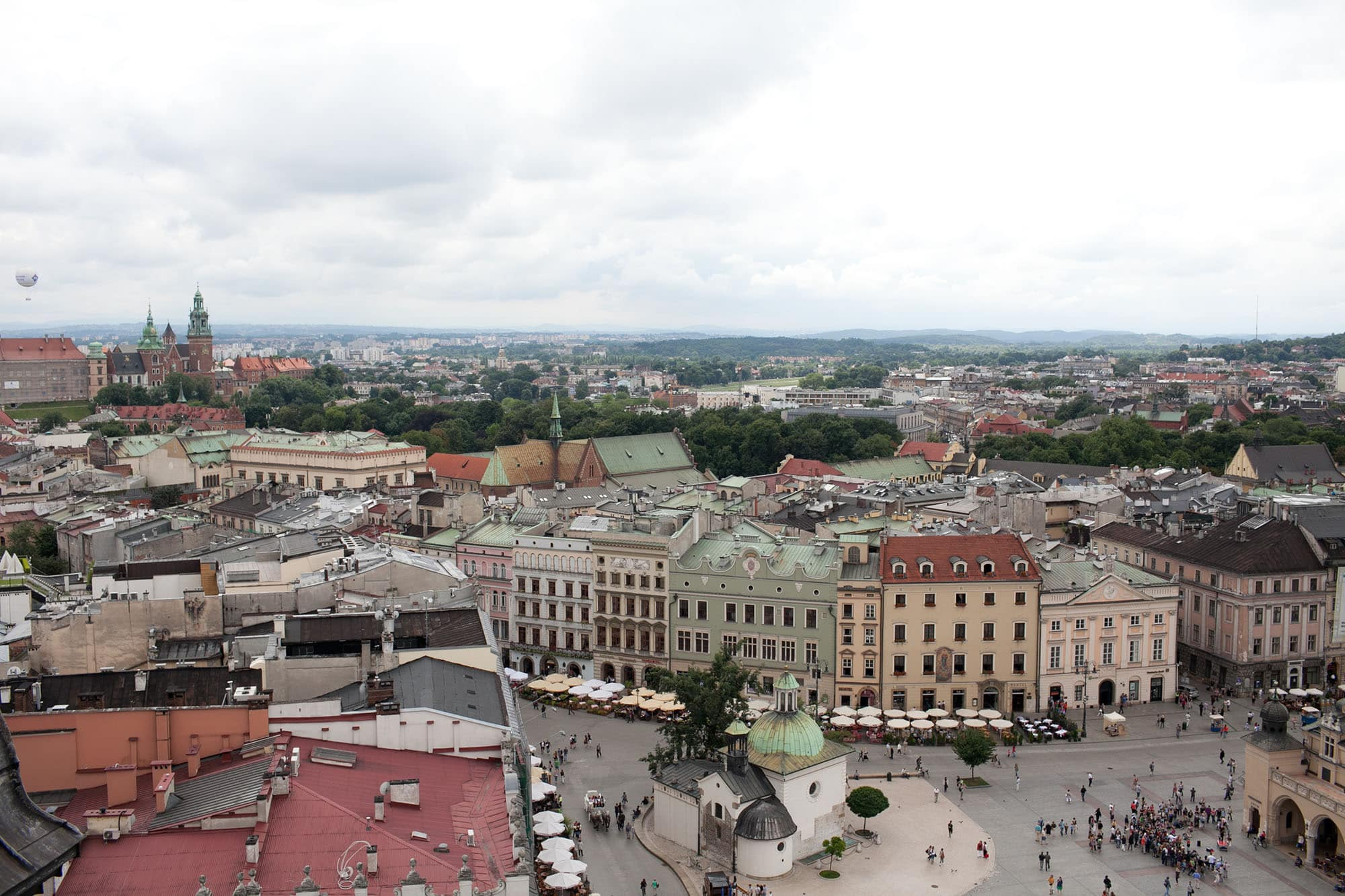 View from the church tower in Krakow, Poland.