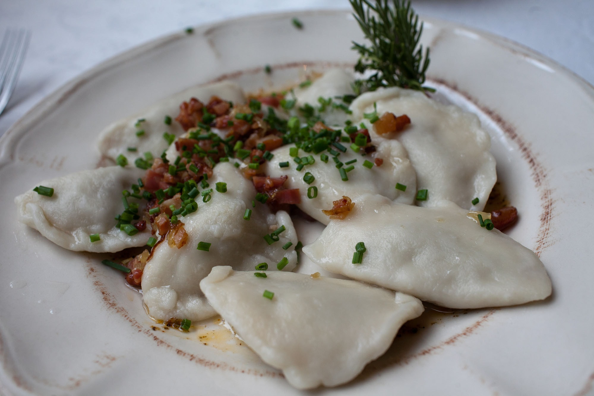 Meat pierogi in Krakow, Poland.