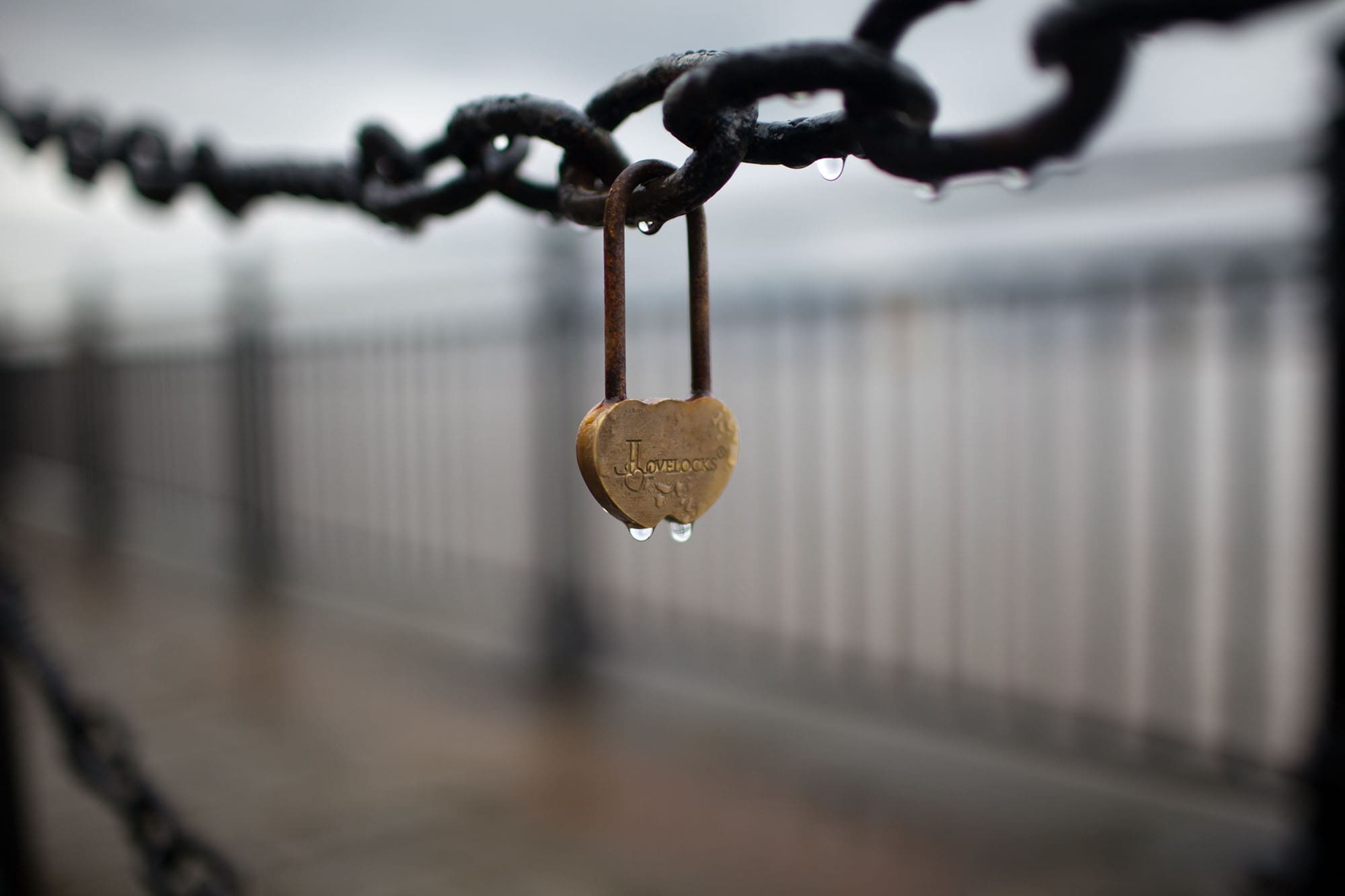 Love locks in Liverpool, England