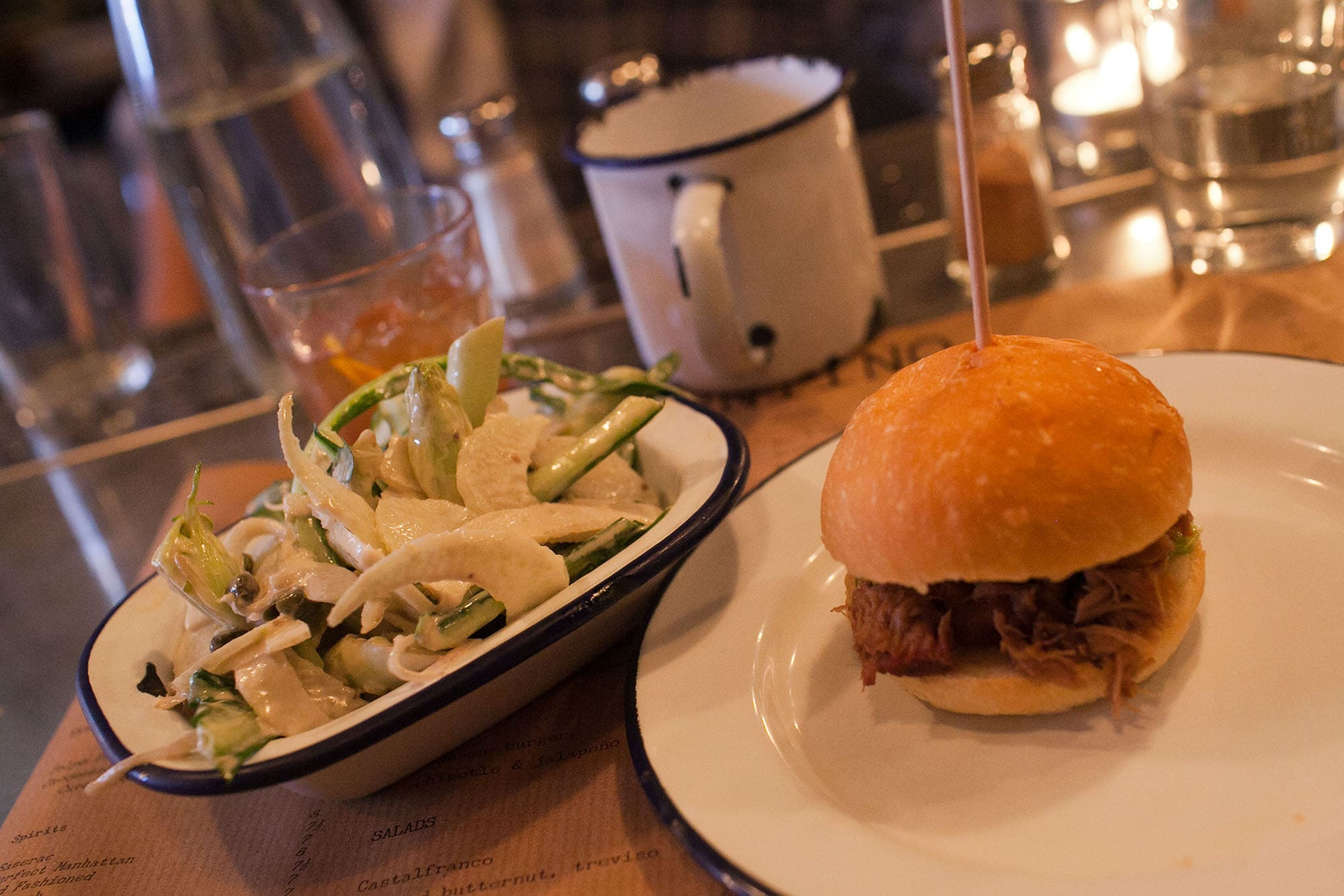 Pork slider and Celeriac Salad from Sputino in Soho, London, England