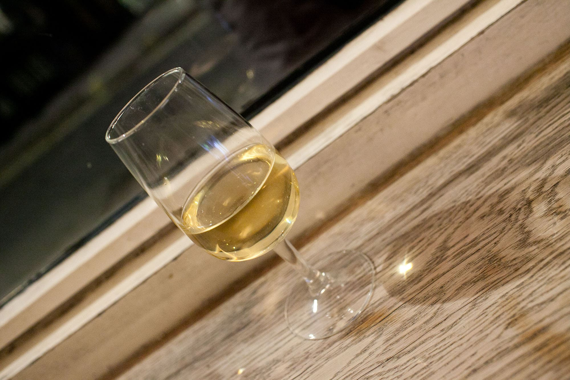 White wine at Fernandez & Wells in Soho, London, England