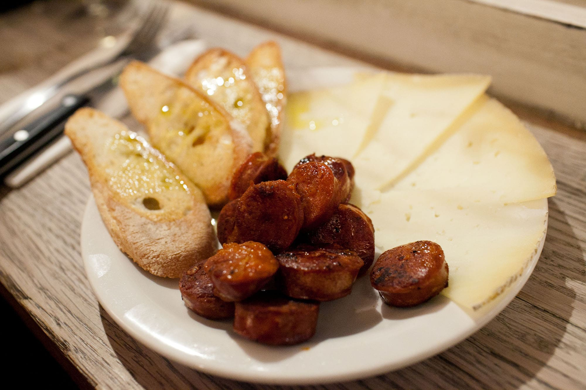 Manchego and chorizo at Fernandez & Wells in Soho, London, England