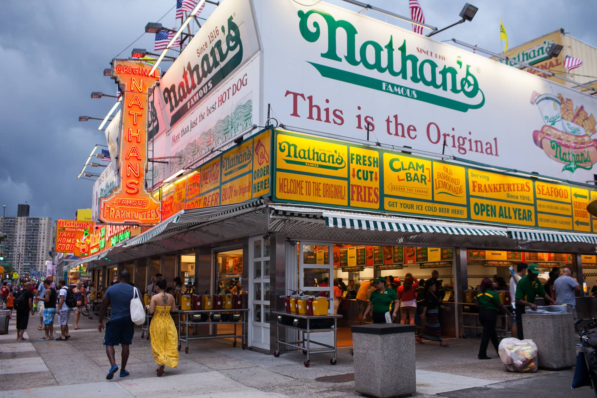 Nathan's Famous in Coney Island, New York.