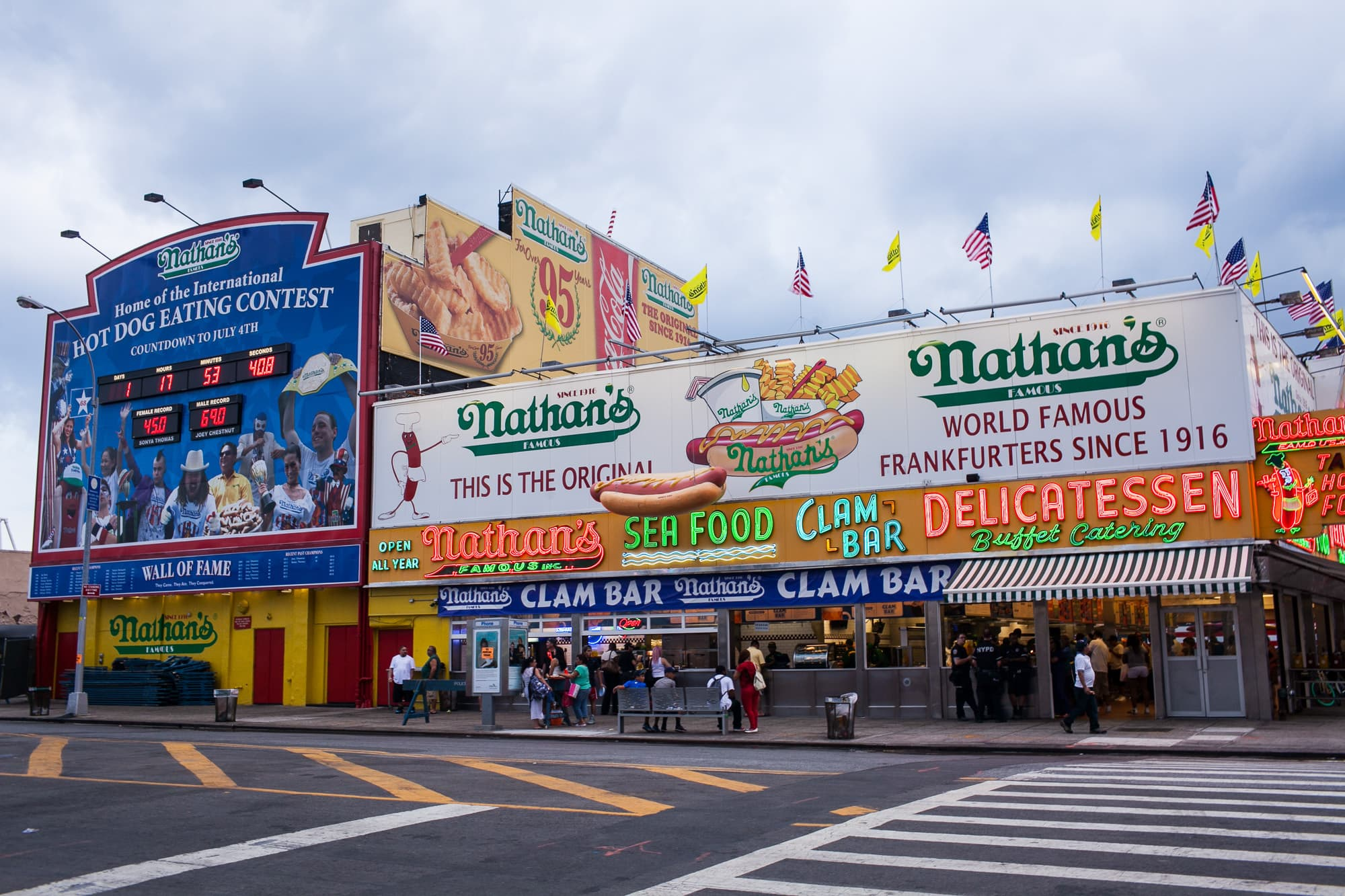 Nathan's Famous hot dog eating contest in Coney Island, New York.